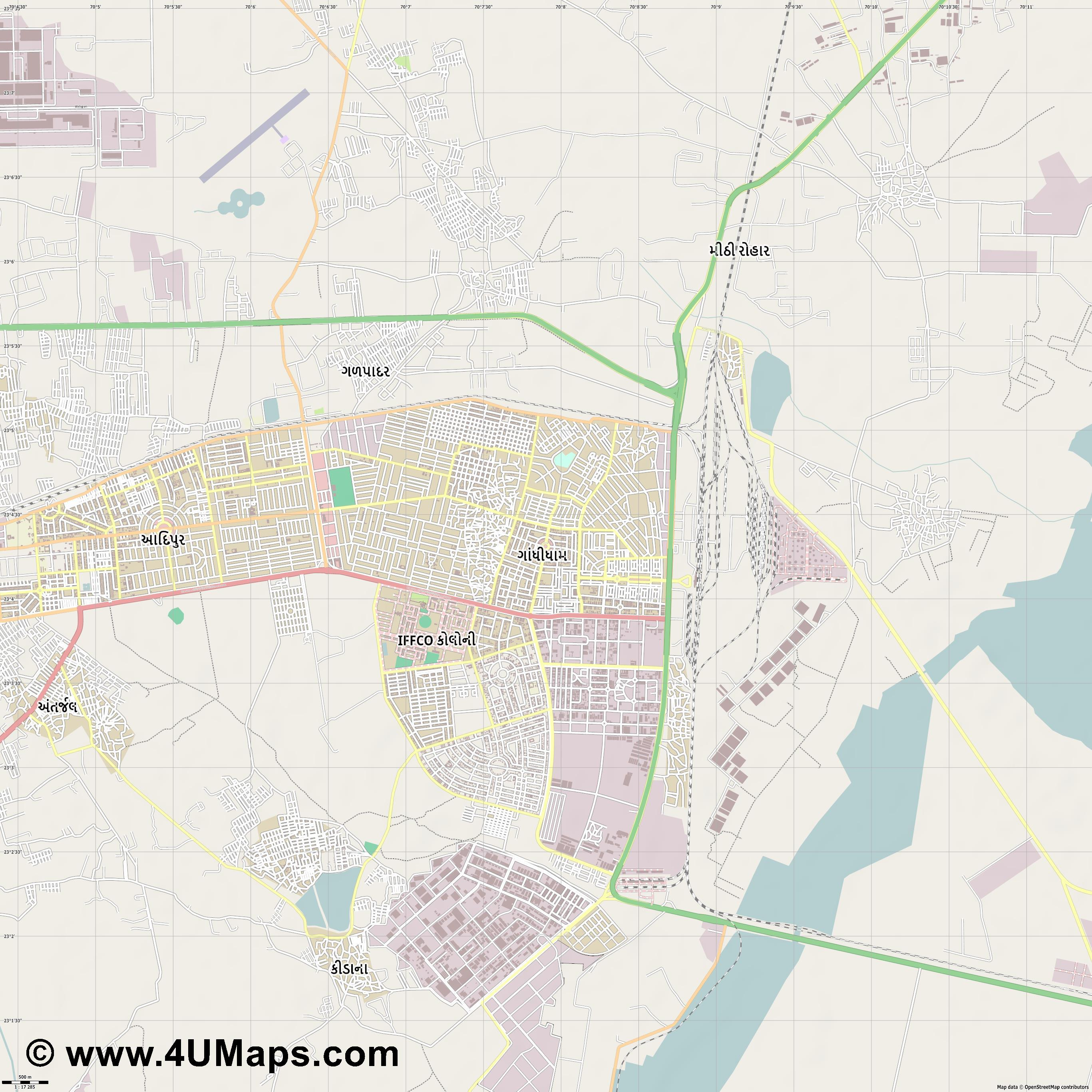 Gandhidham  jpg ultra high detail preview vector city map