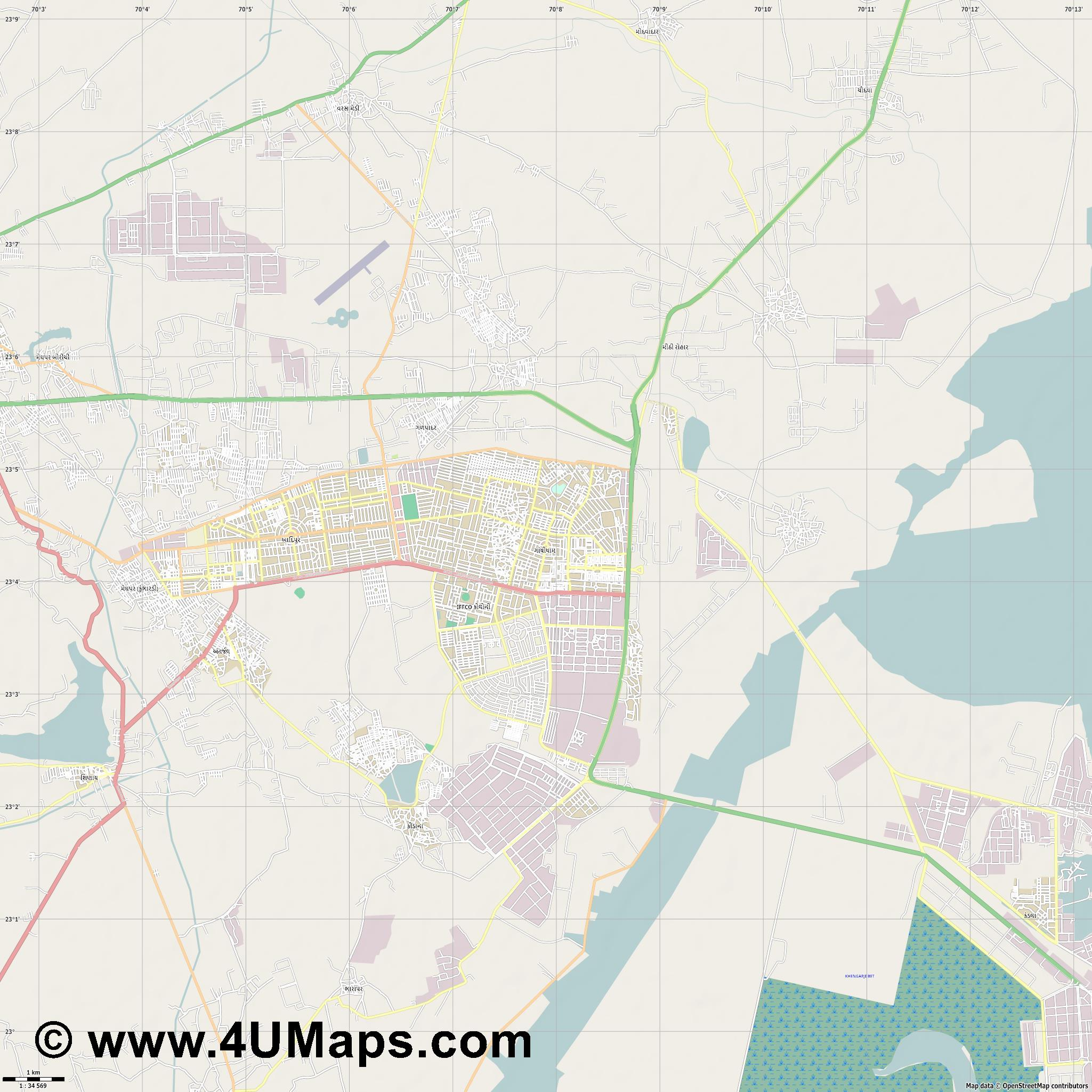 Gandhidham  jpg high detail, large area preview vector city map