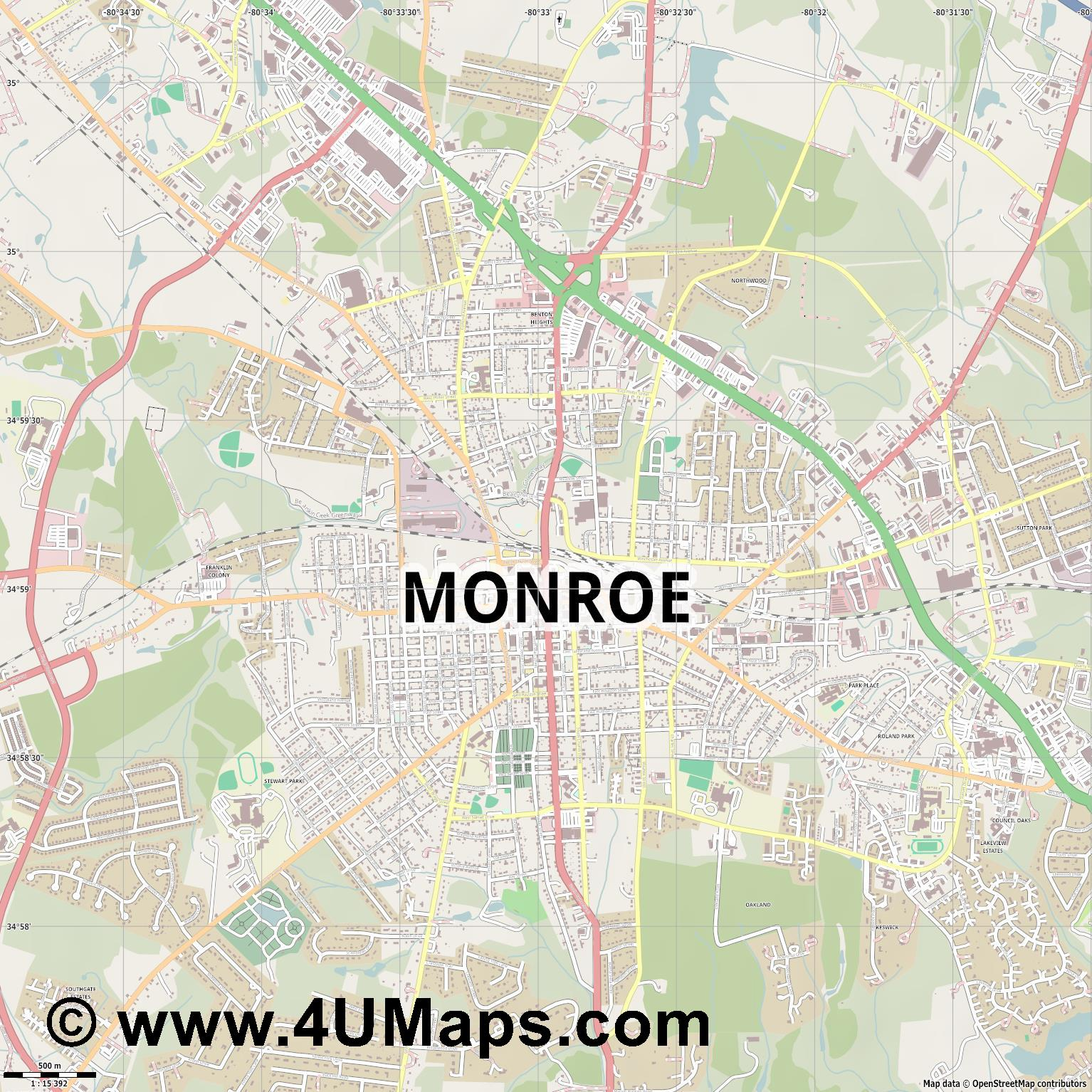 Monroe  jpg ultra high detail preview vector city map