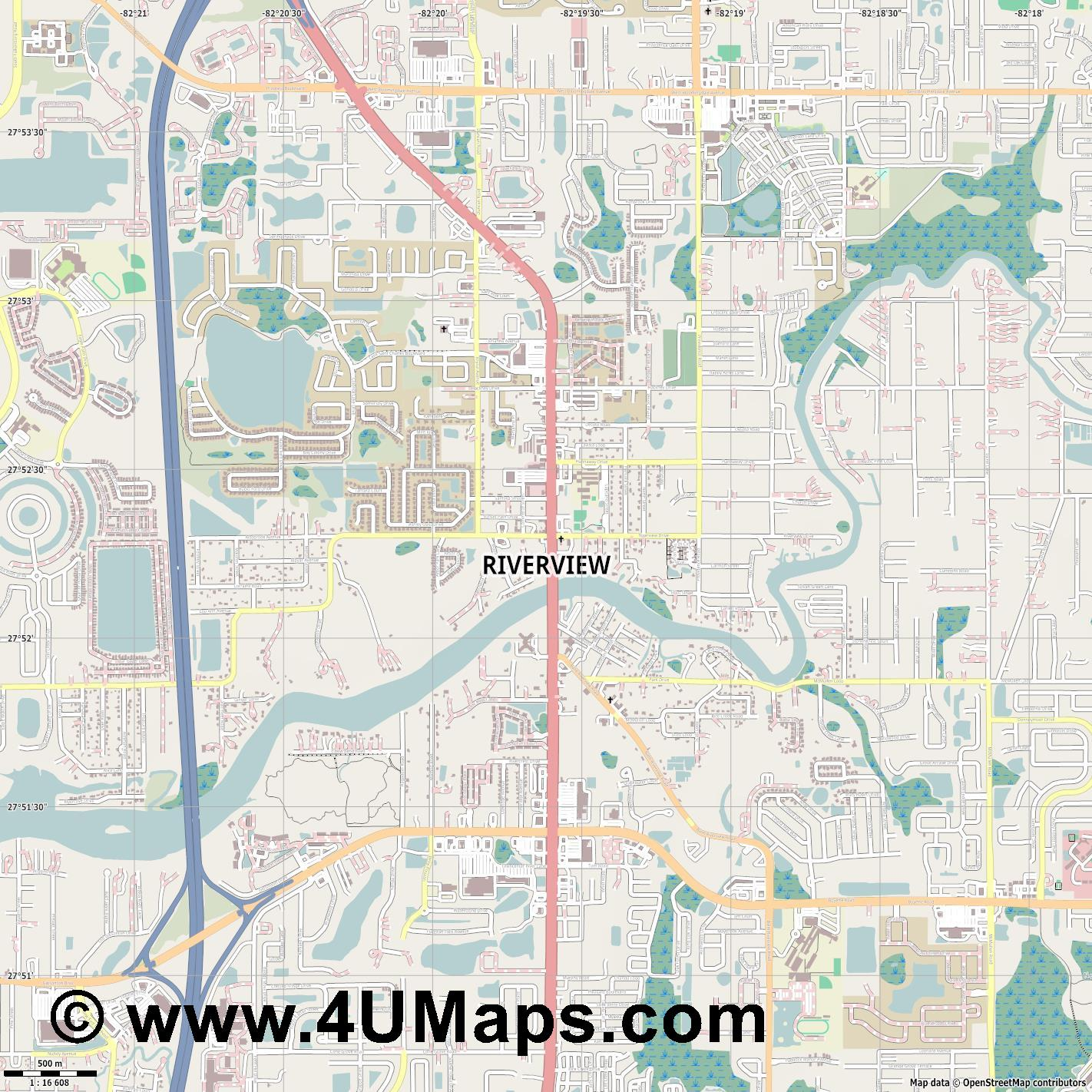 Riverview  jpg ultra high detail preview vector city map