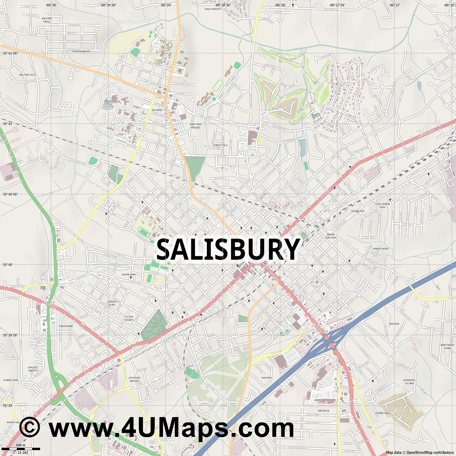 Salisbury  jpg ultra high detail preview vector city map