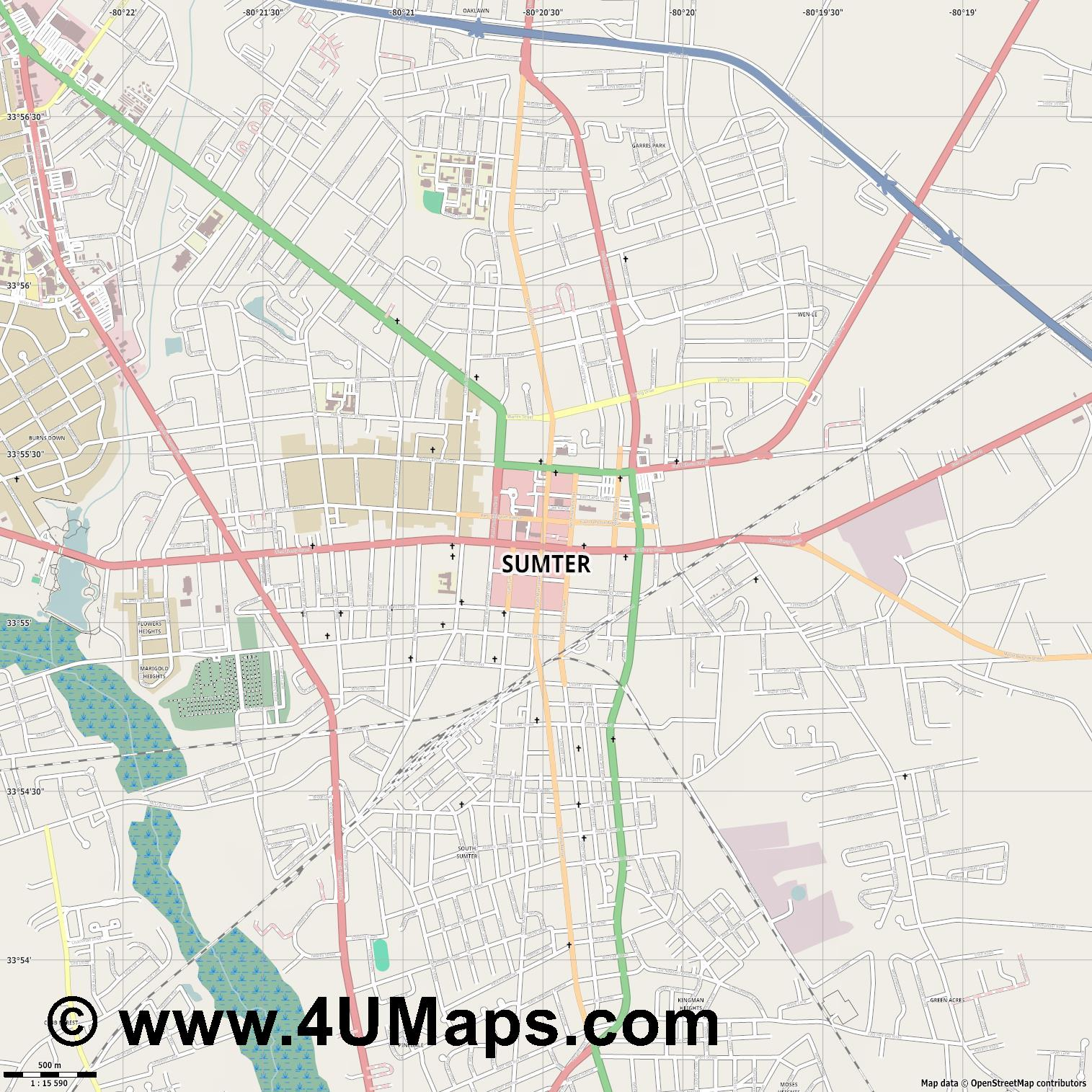 Sumter  jpg ultra high detail preview vector city map