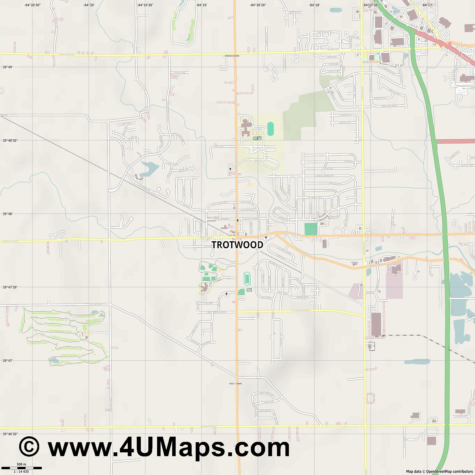 Trotwood  jpg ultra high detail preview vector city map