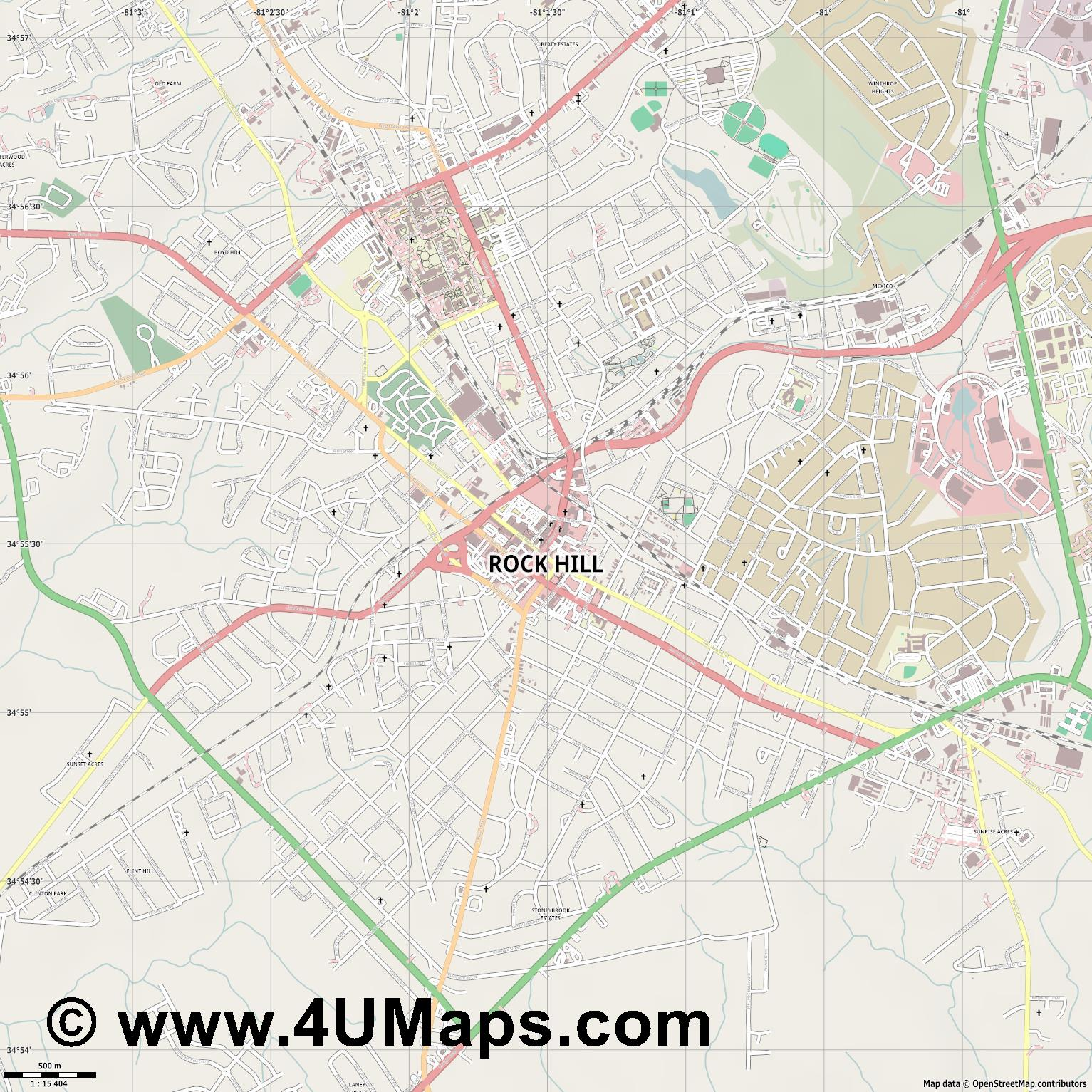 Rock Hill  jpg ultra high detail preview vector city map