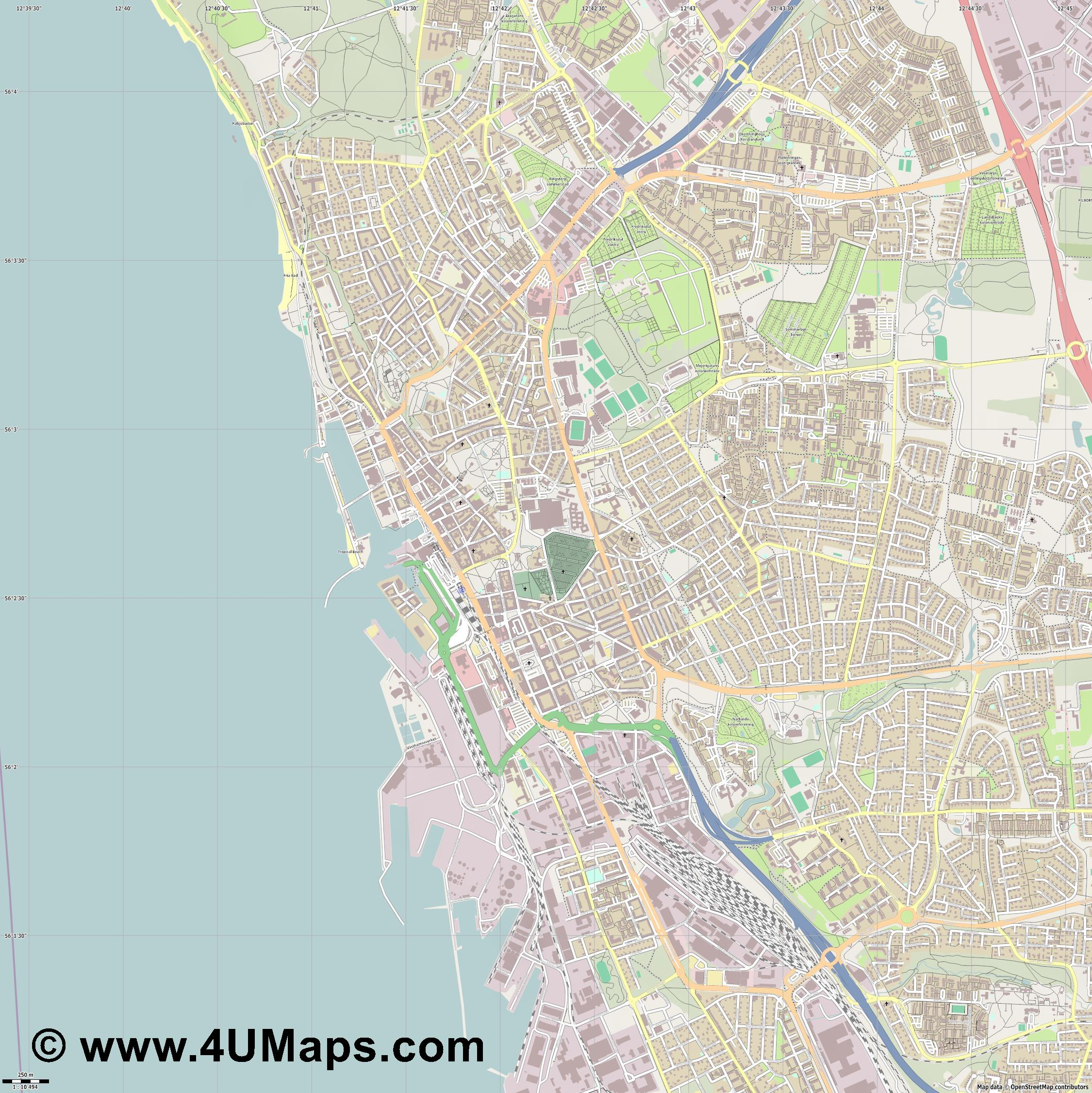 PDF Svg Scalable Vector City Map Helsingborg