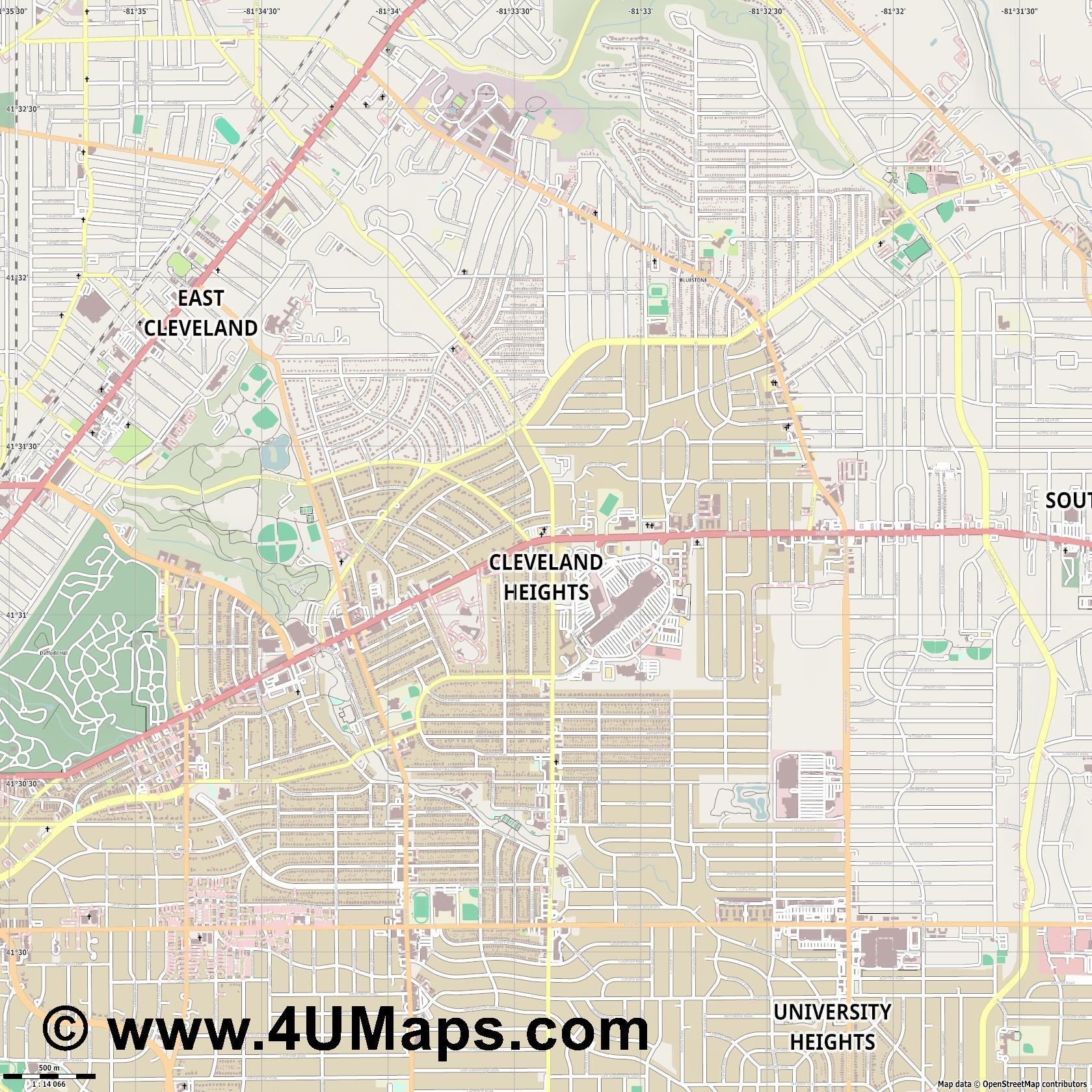 Cleveland Heights  jpg ultra high detail preview vector city map