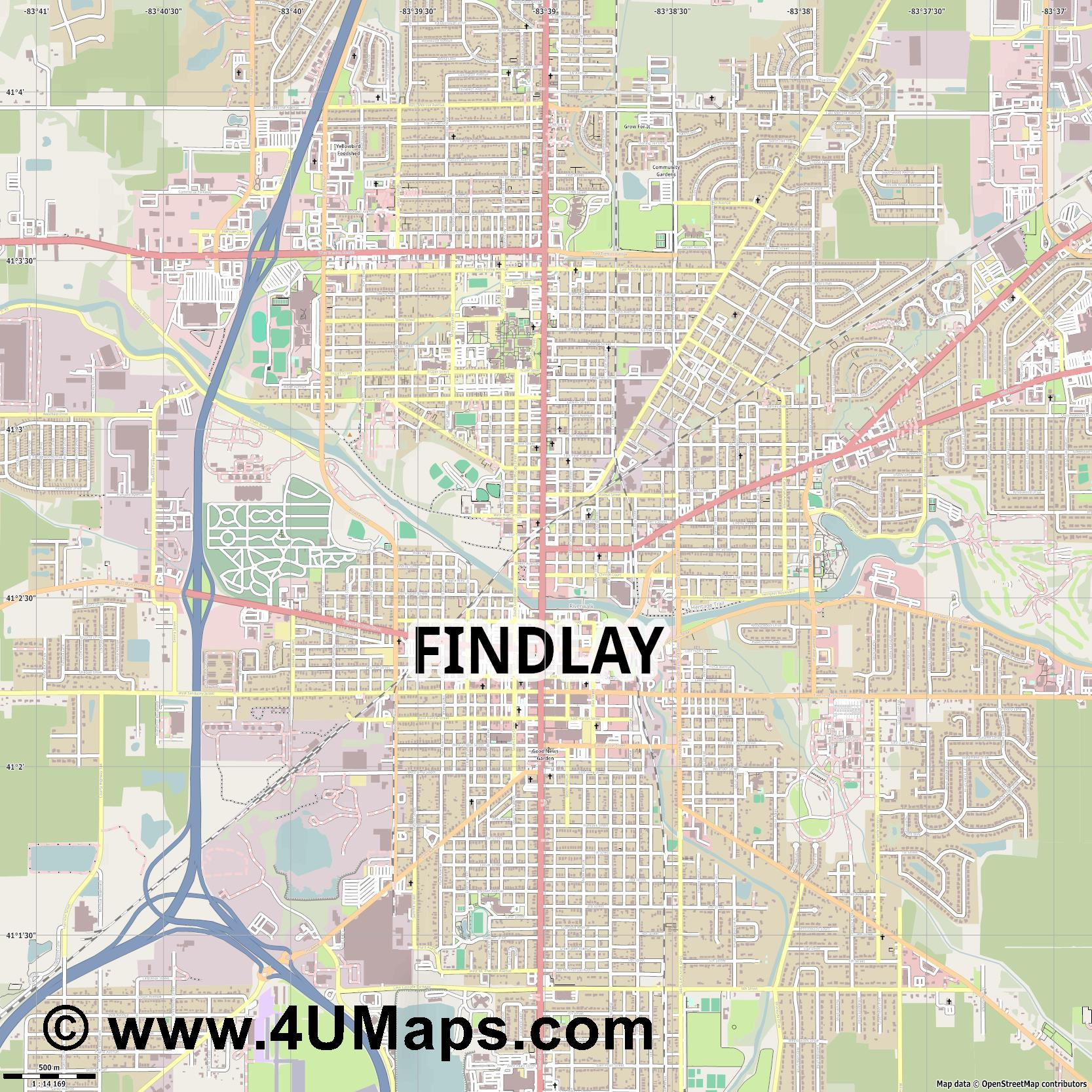 Findlay  jpg ultra high detail preview vector city map