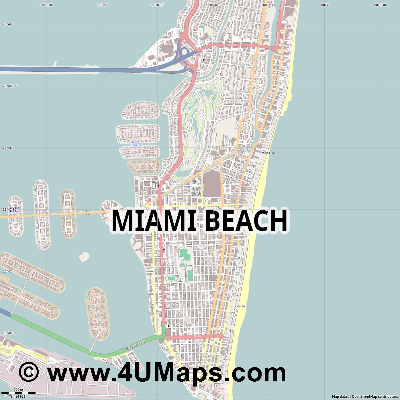 Miami Beach  jpg ultra high detail preview vector city map