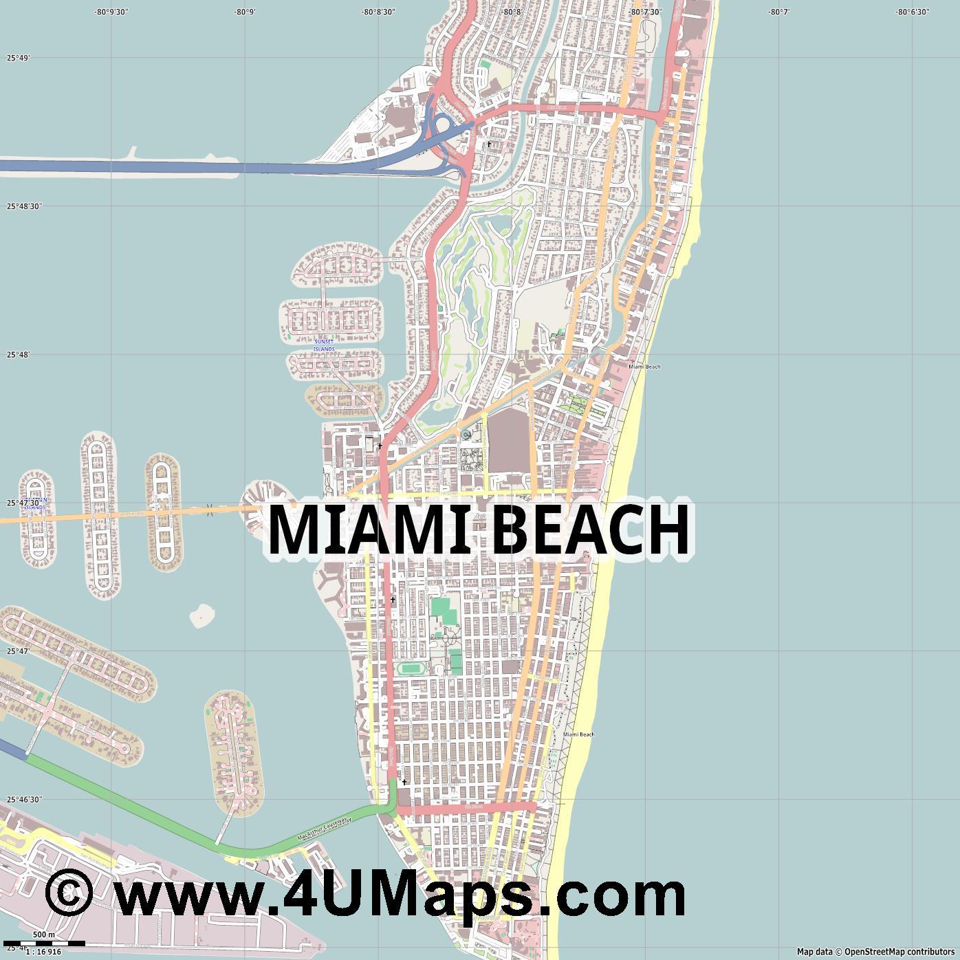 Svg Scalable City Map Vector Miami Beach