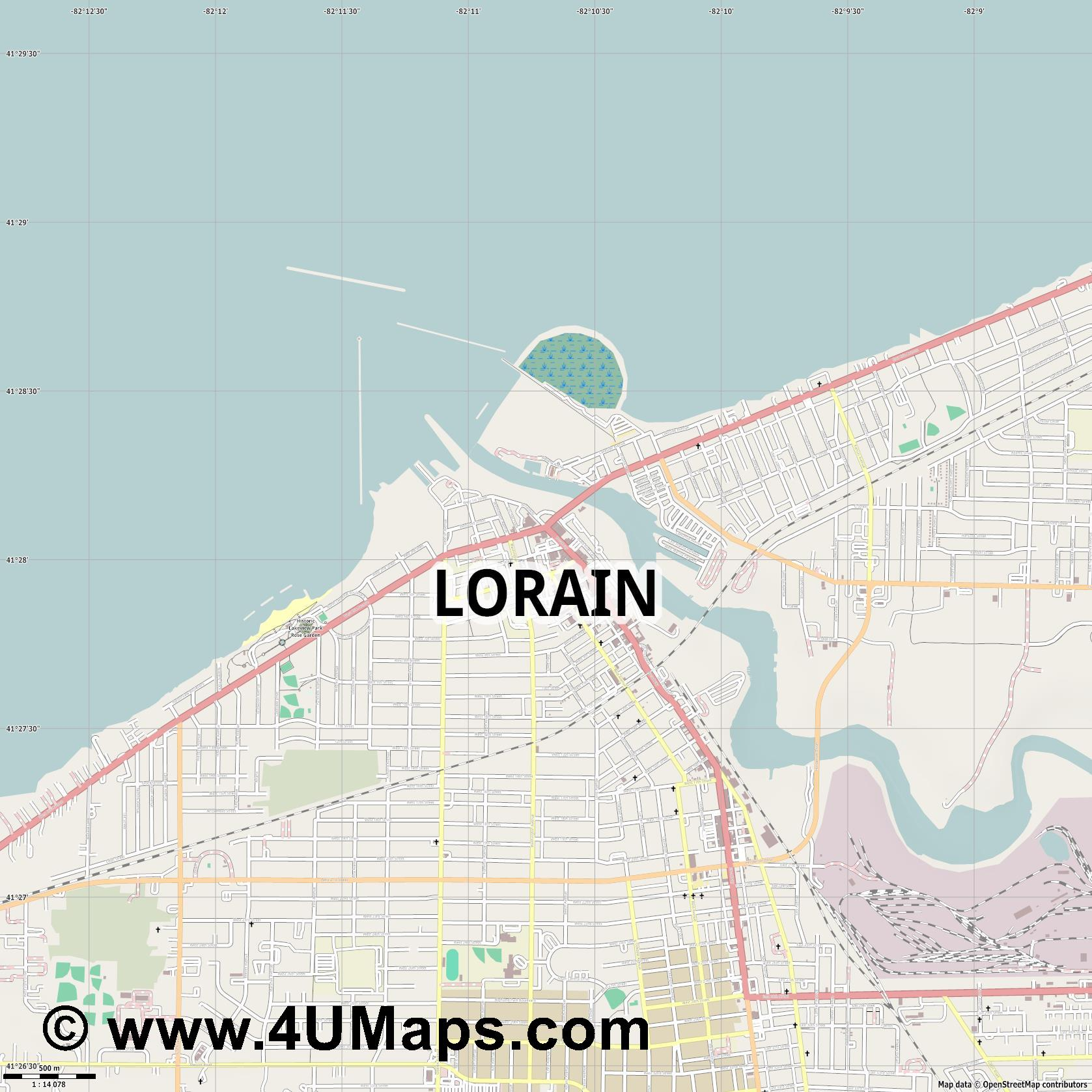 Lorain  jpg ultra high detail preview vector city map