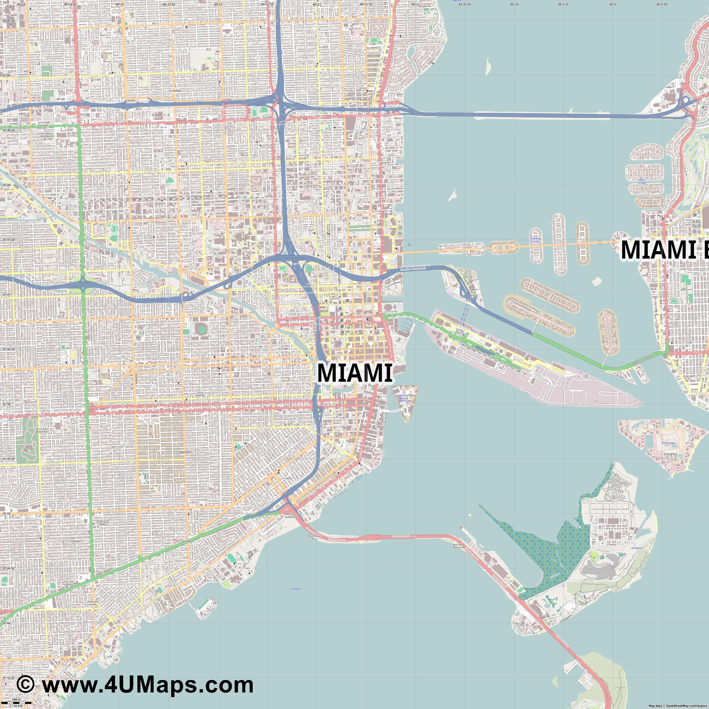 Miami  jpg ultra high detail preview vector city map