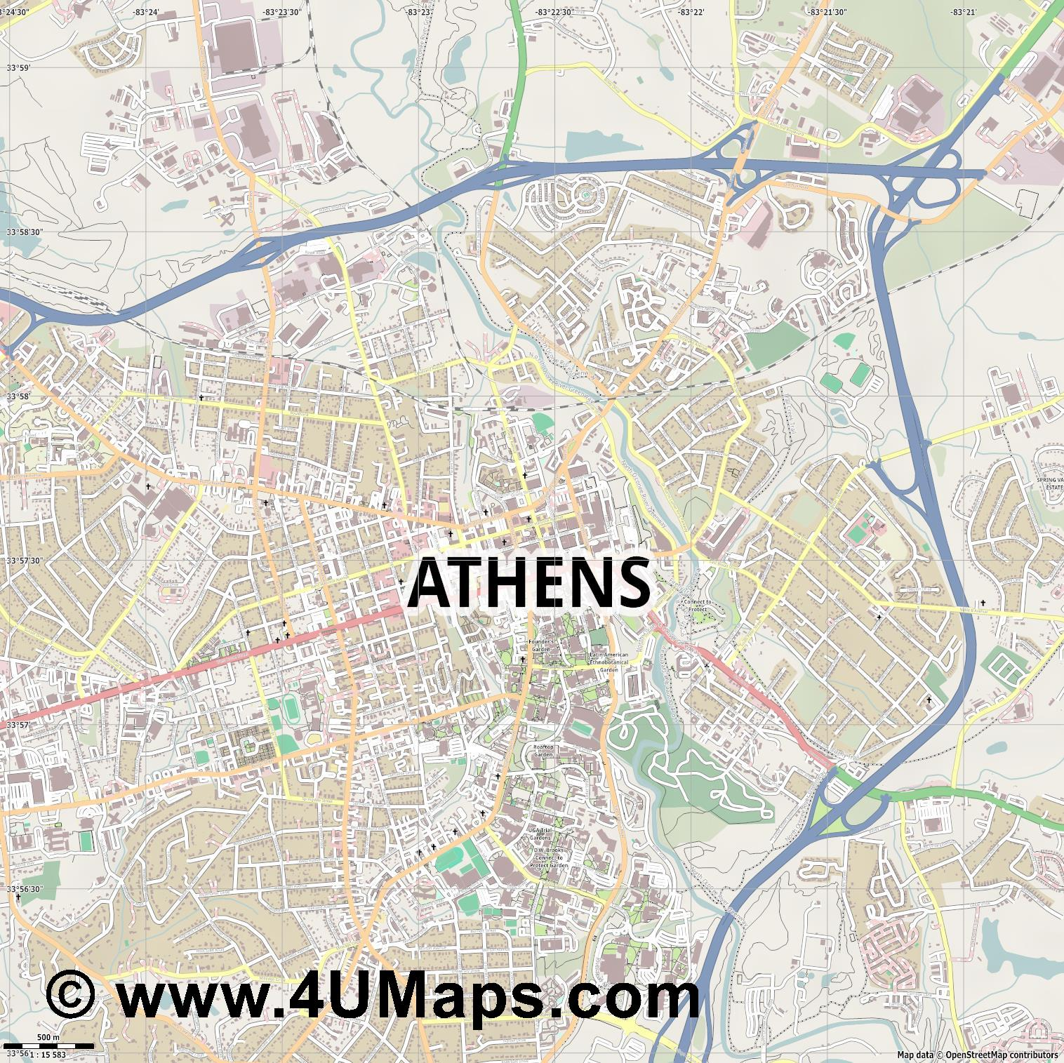 Athens  jpg ultra high detail preview vector city map