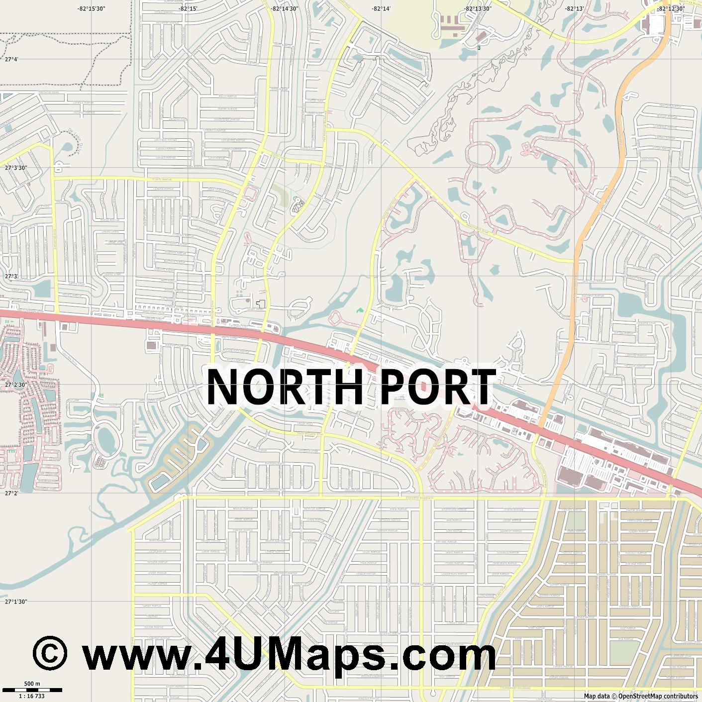 North Port  jpg ultra high detail preview vector city map