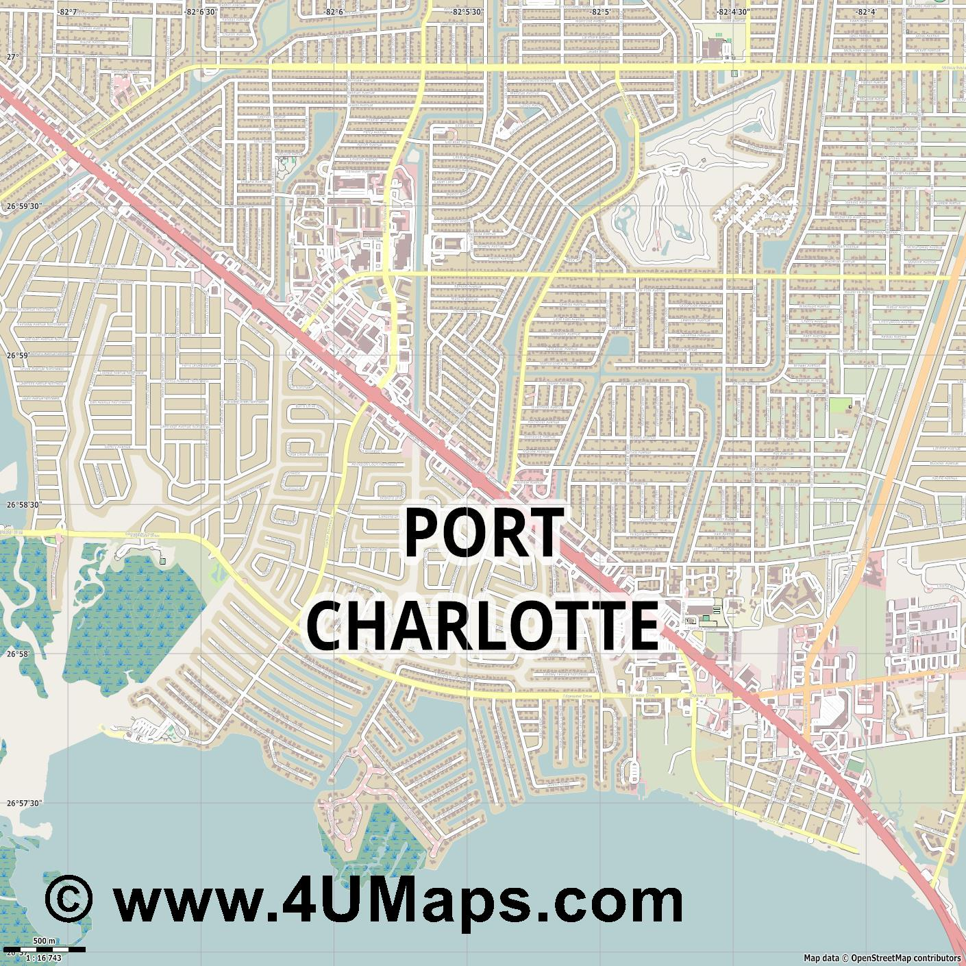 Port Charlotte  jpg ultra high detail preview vector city map