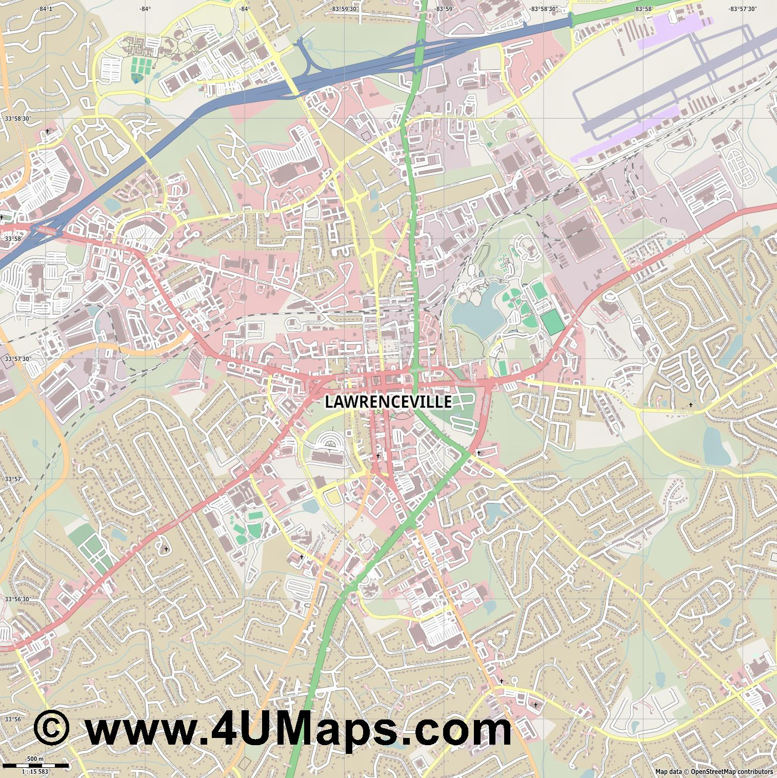 Lawrenceville  jpg ultra high detail preview vector city map