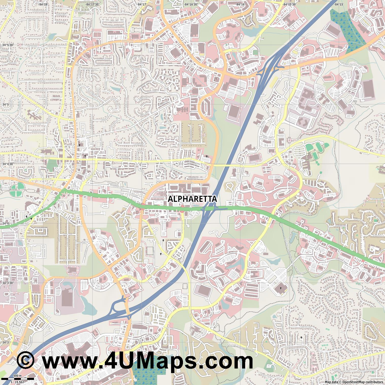 Alpharetta  jpg ultra high detail preview vector city map