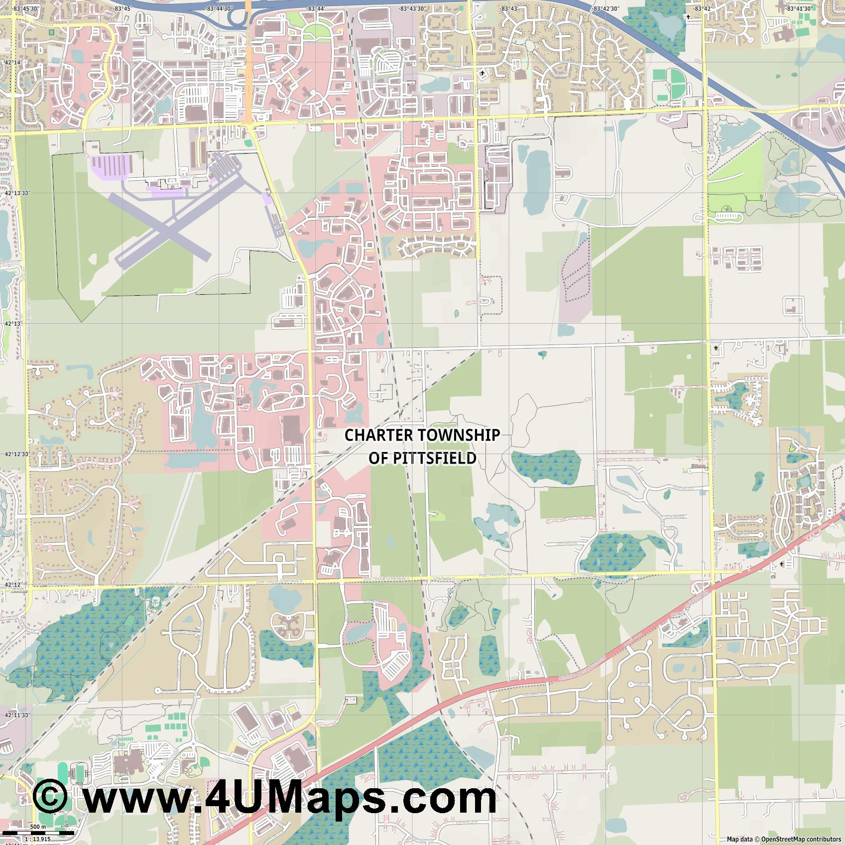 Pittsfield Township  jpg ultra high detail preview vector city map