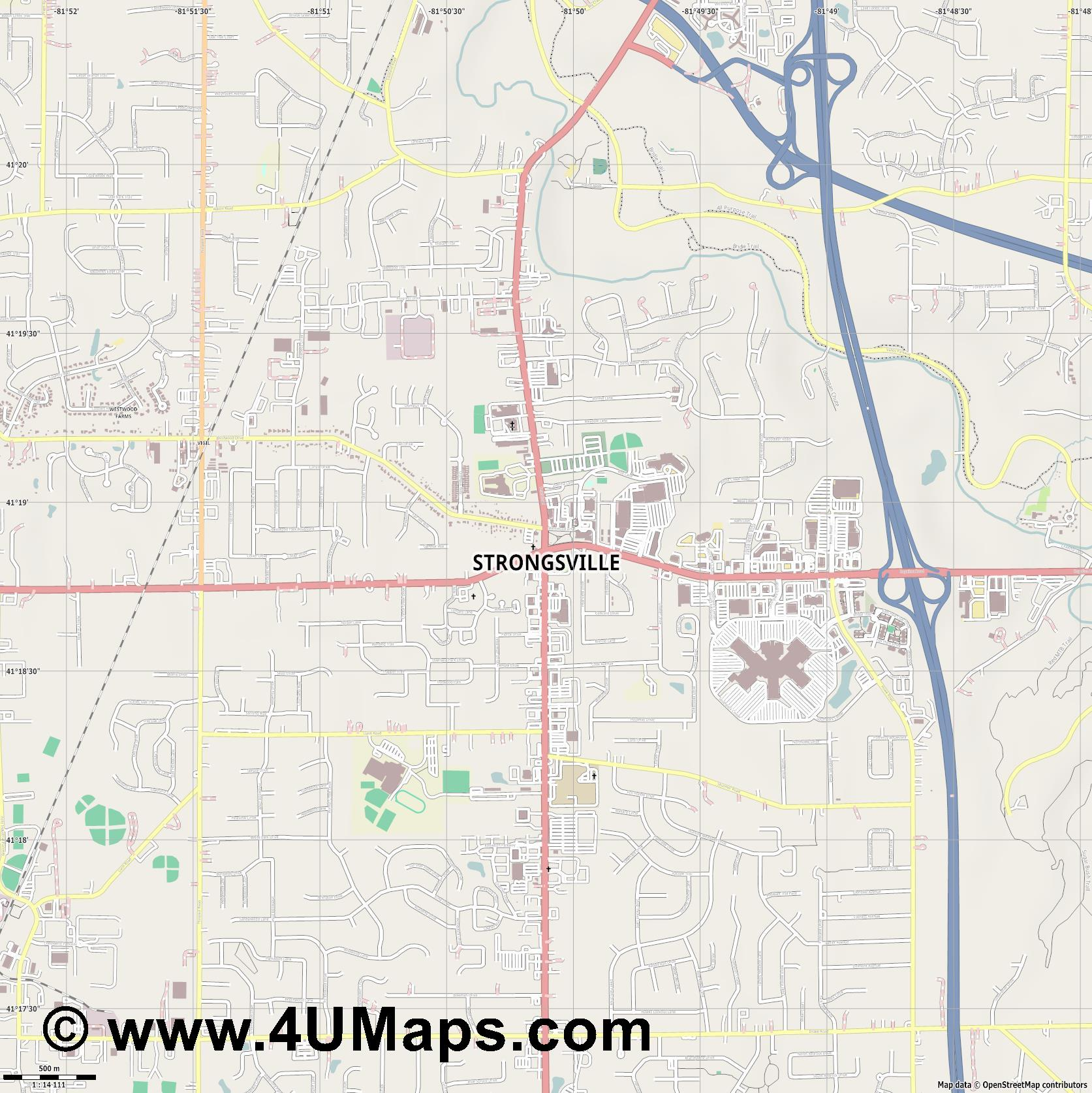 Strongsville  jpg ultra high detail preview vector city map