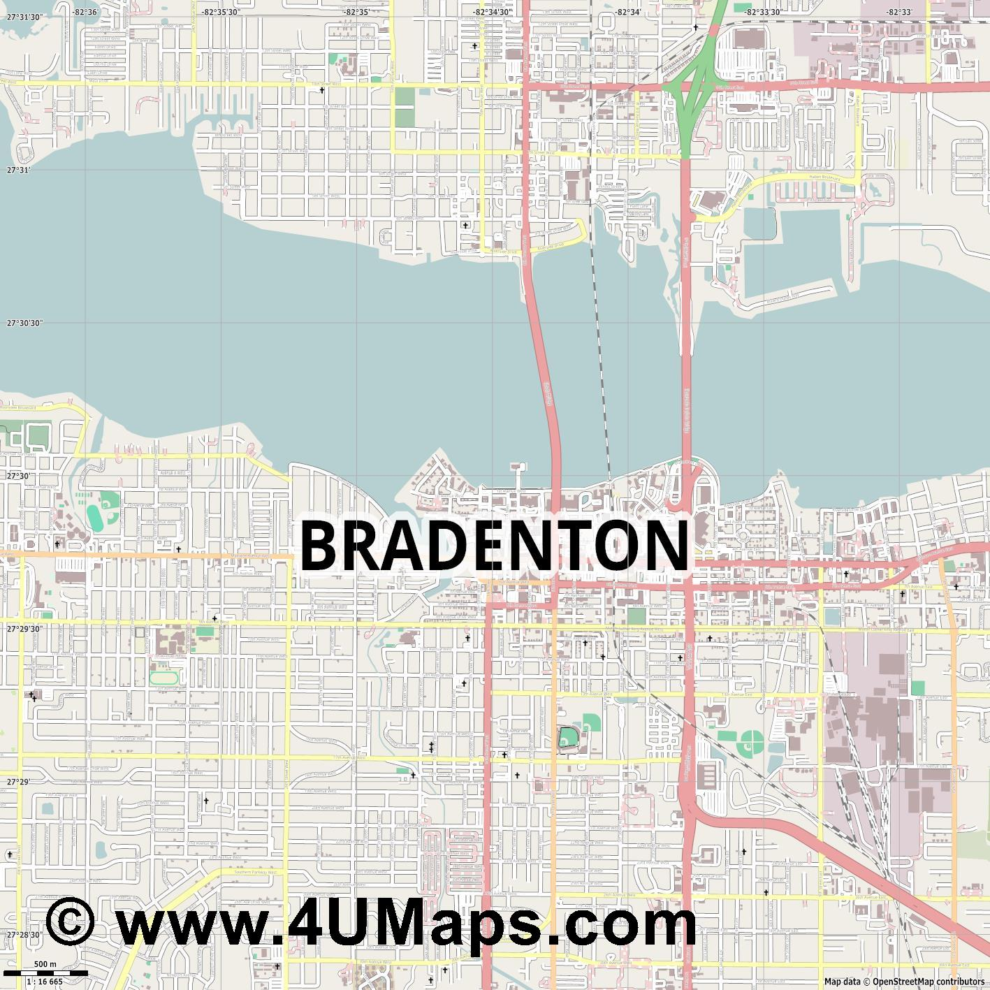 Bradenton  jpg ultra high detail preview vector city map