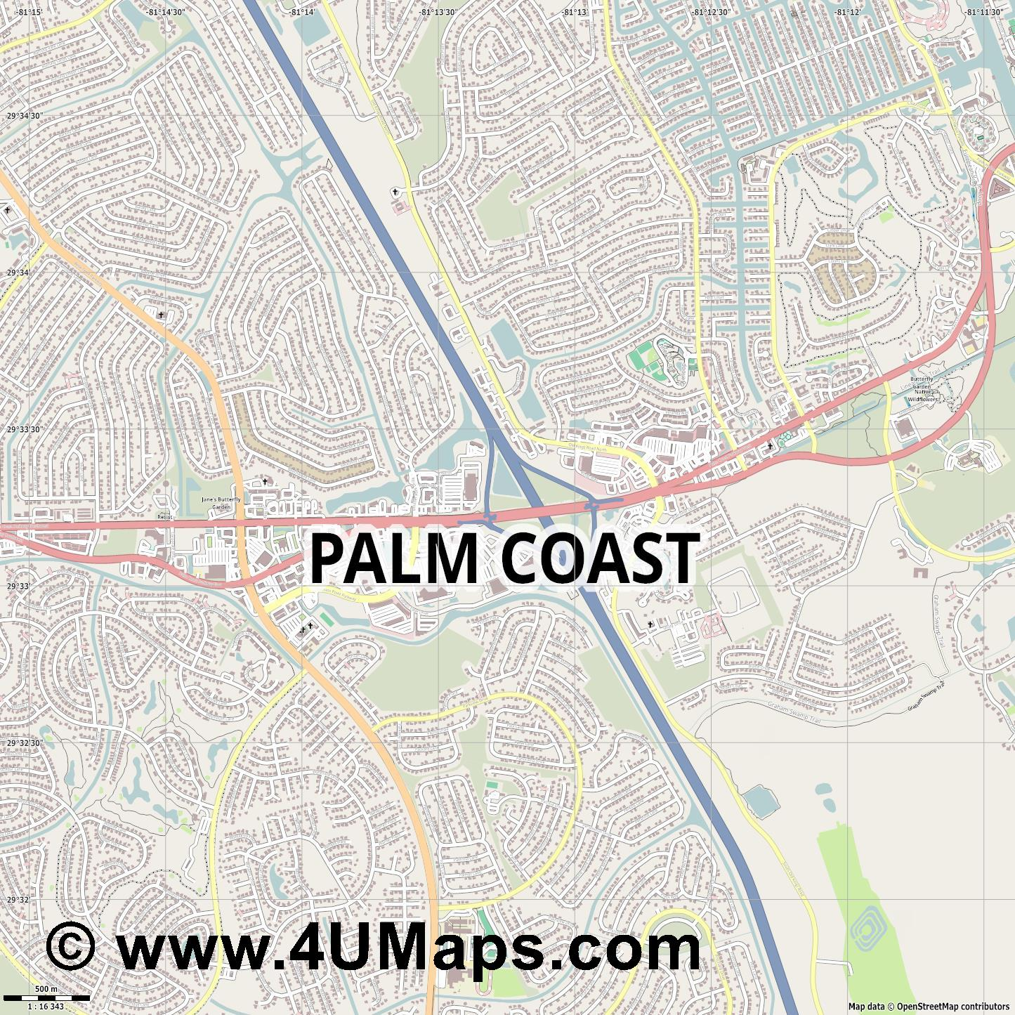 Palm Coast  jpg ultra high detail preview vector city map