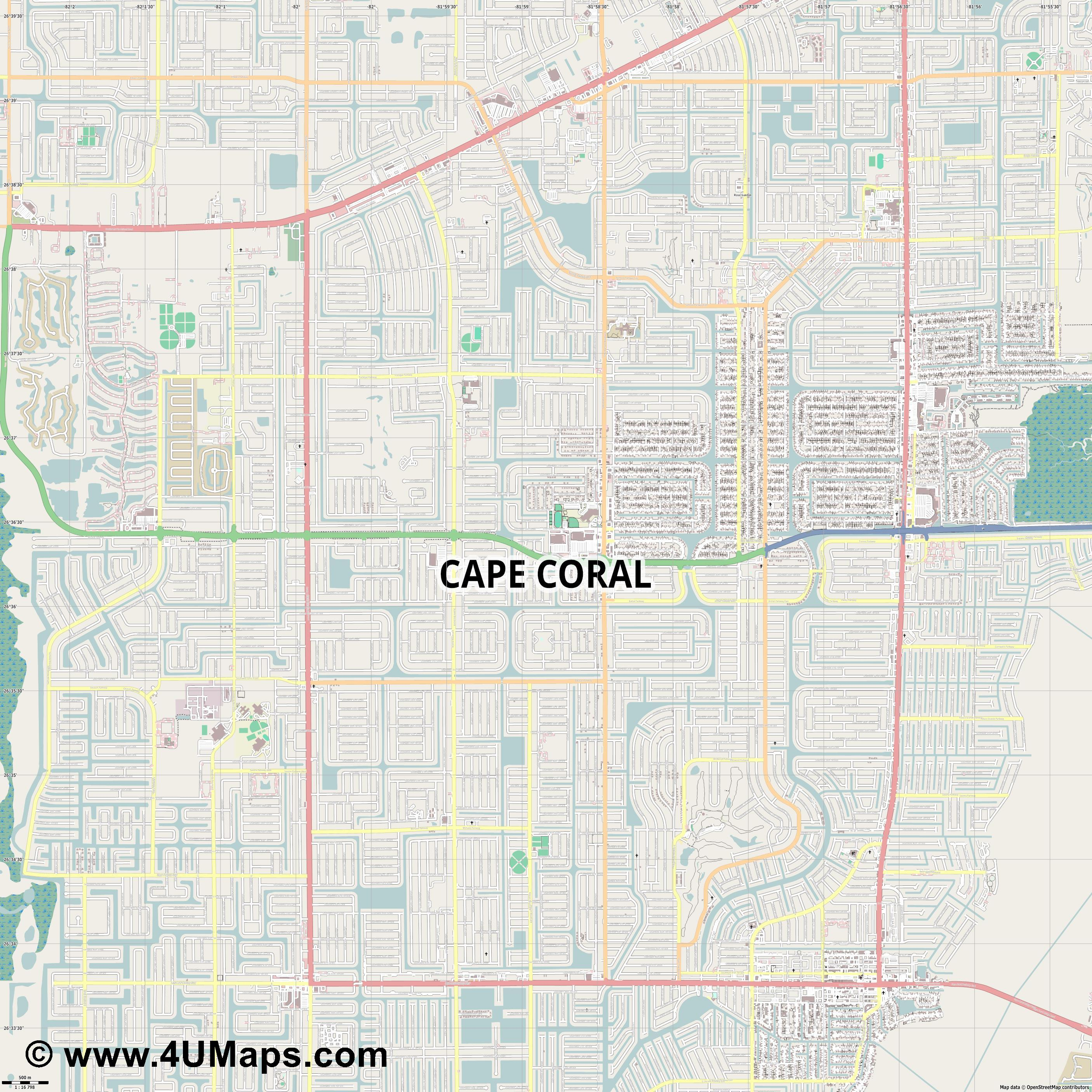 Cape Coral  jpg ultra high detail preview vector city map