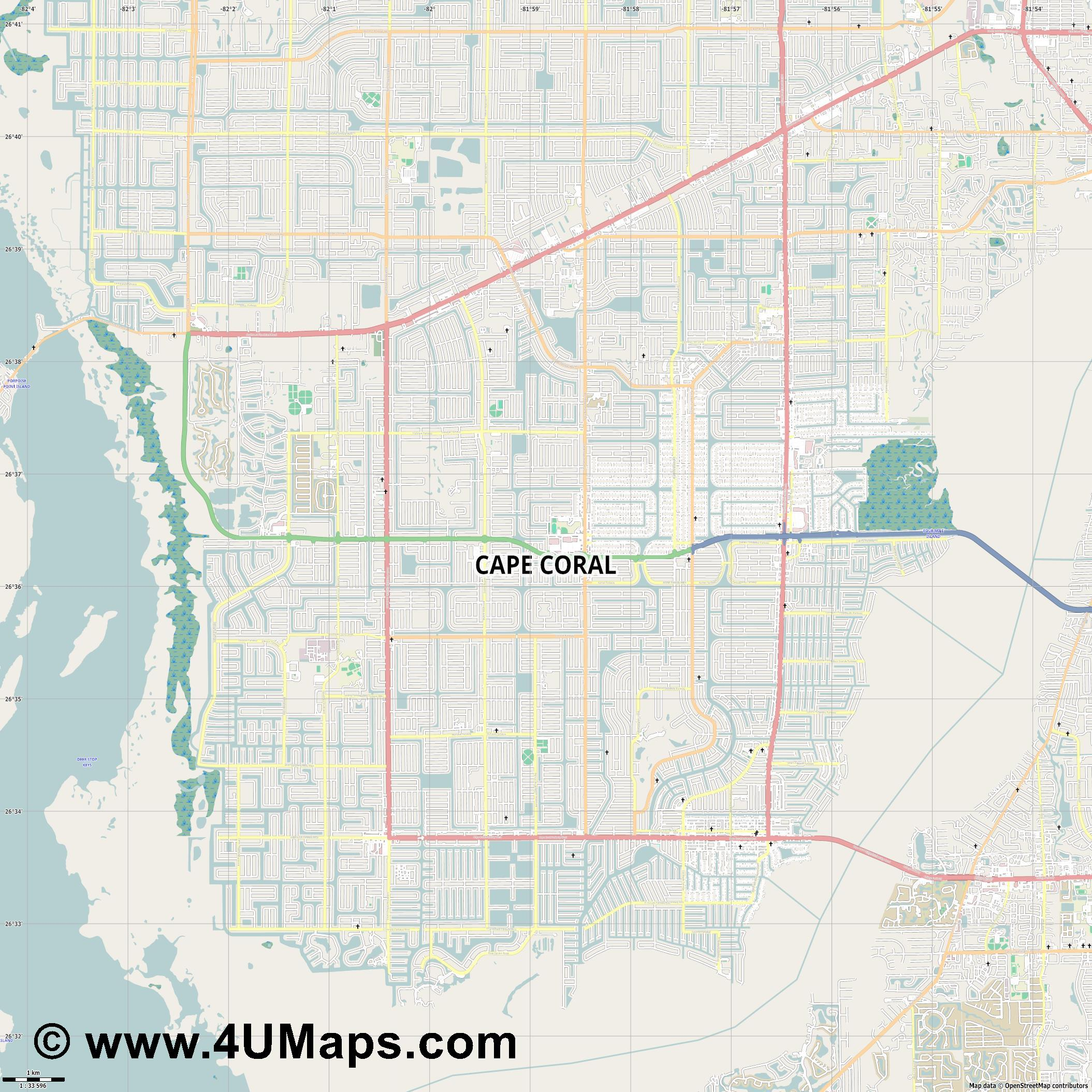 Cape Coral  jpg high detail, large area preview vector city map