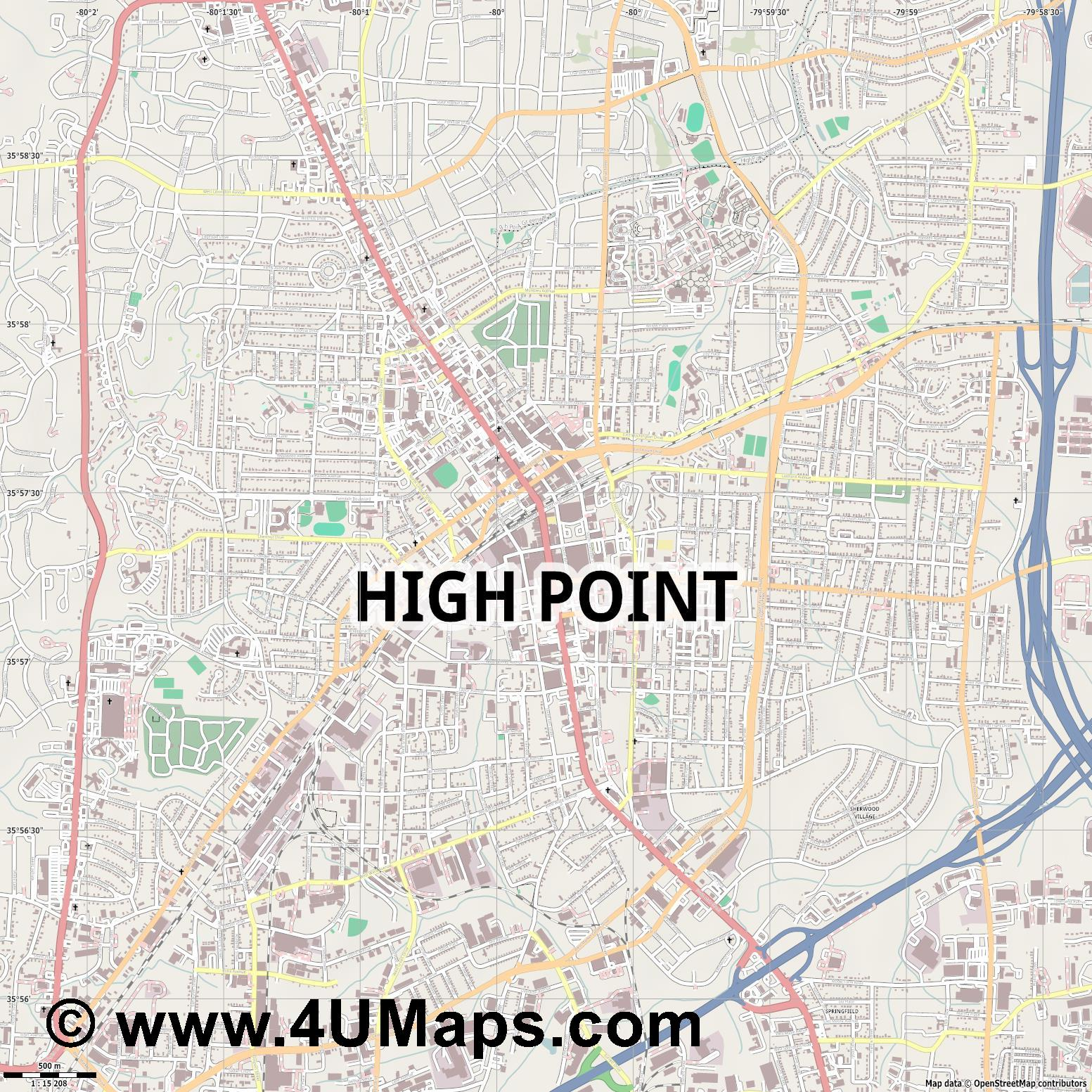 High Point  jpg ultra high detail preview vector city map