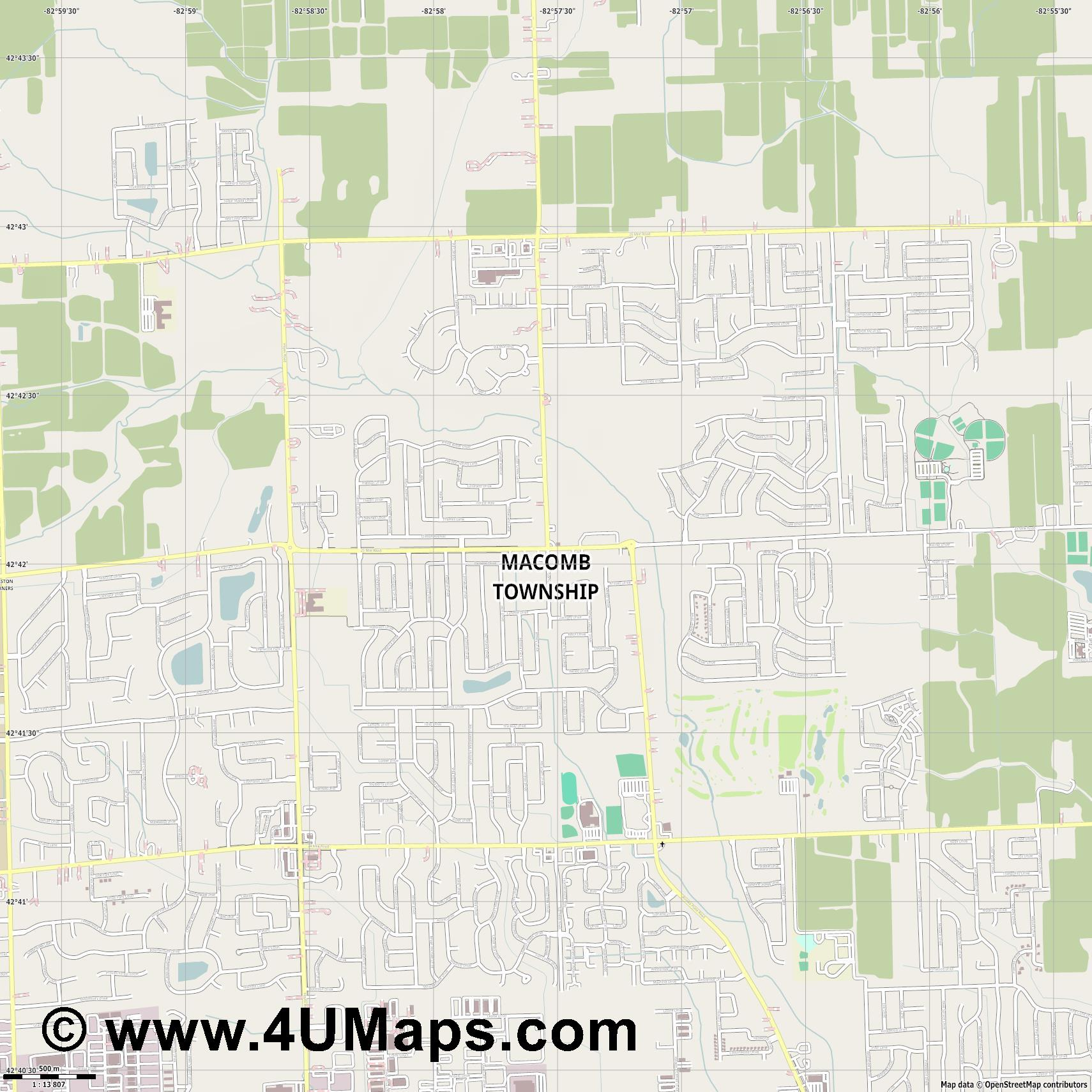 Macomb Township  jpg ultra high detail preview vector city map