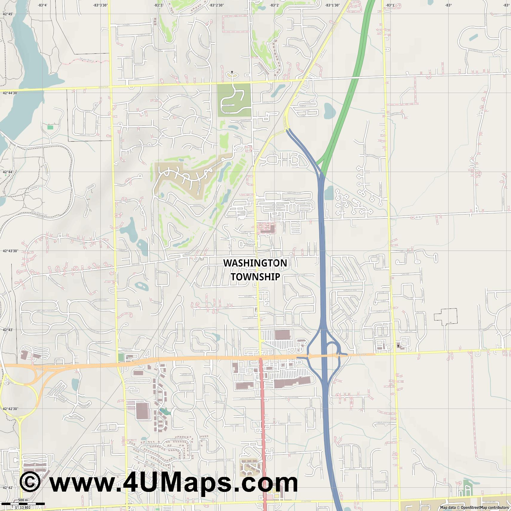 Washington Township  jpg ultra high detail preview vector city map
