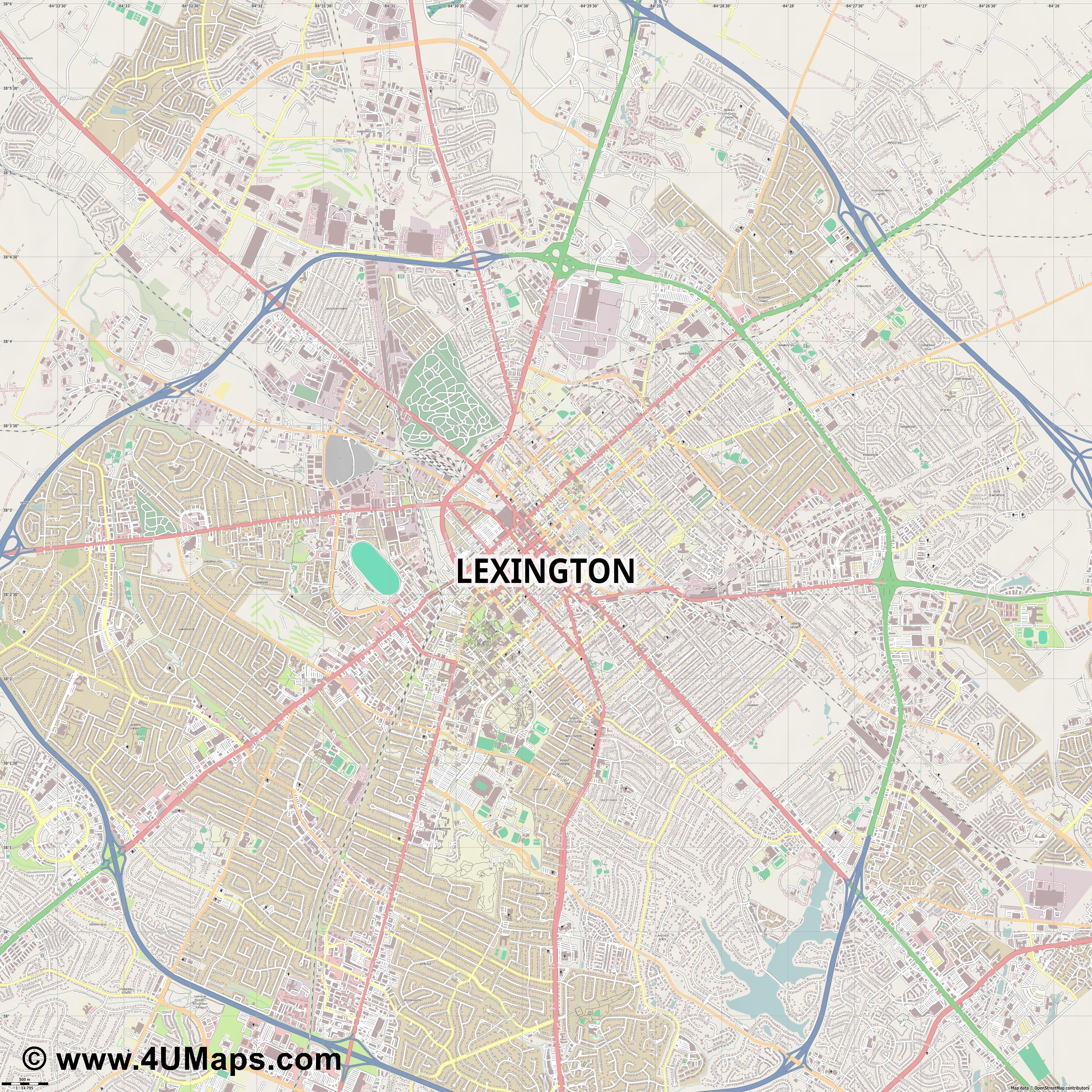 Lexington  jpg ultra high detail preview vector city map