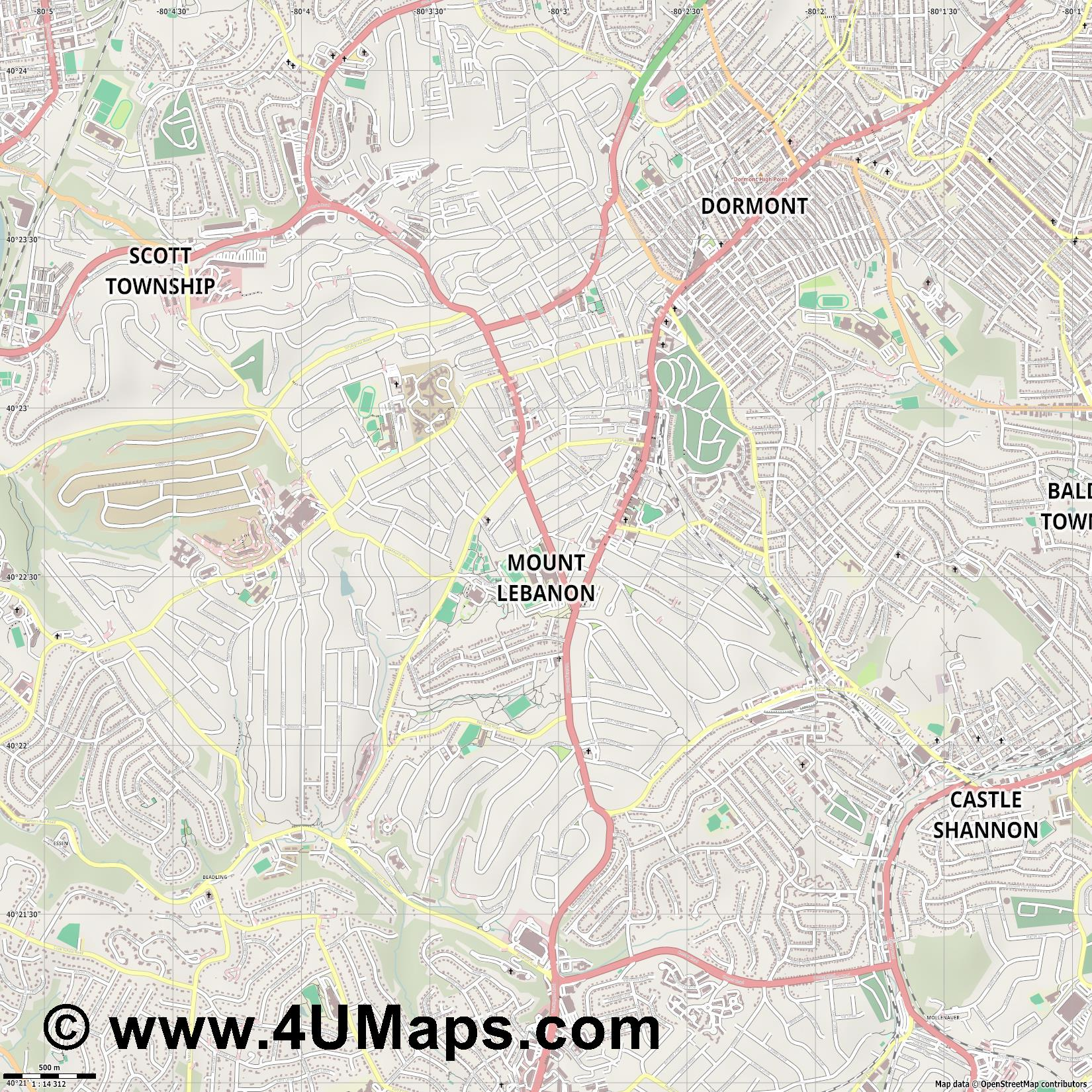 Mount Lebanon  jpg ultra high detail preview vector city map