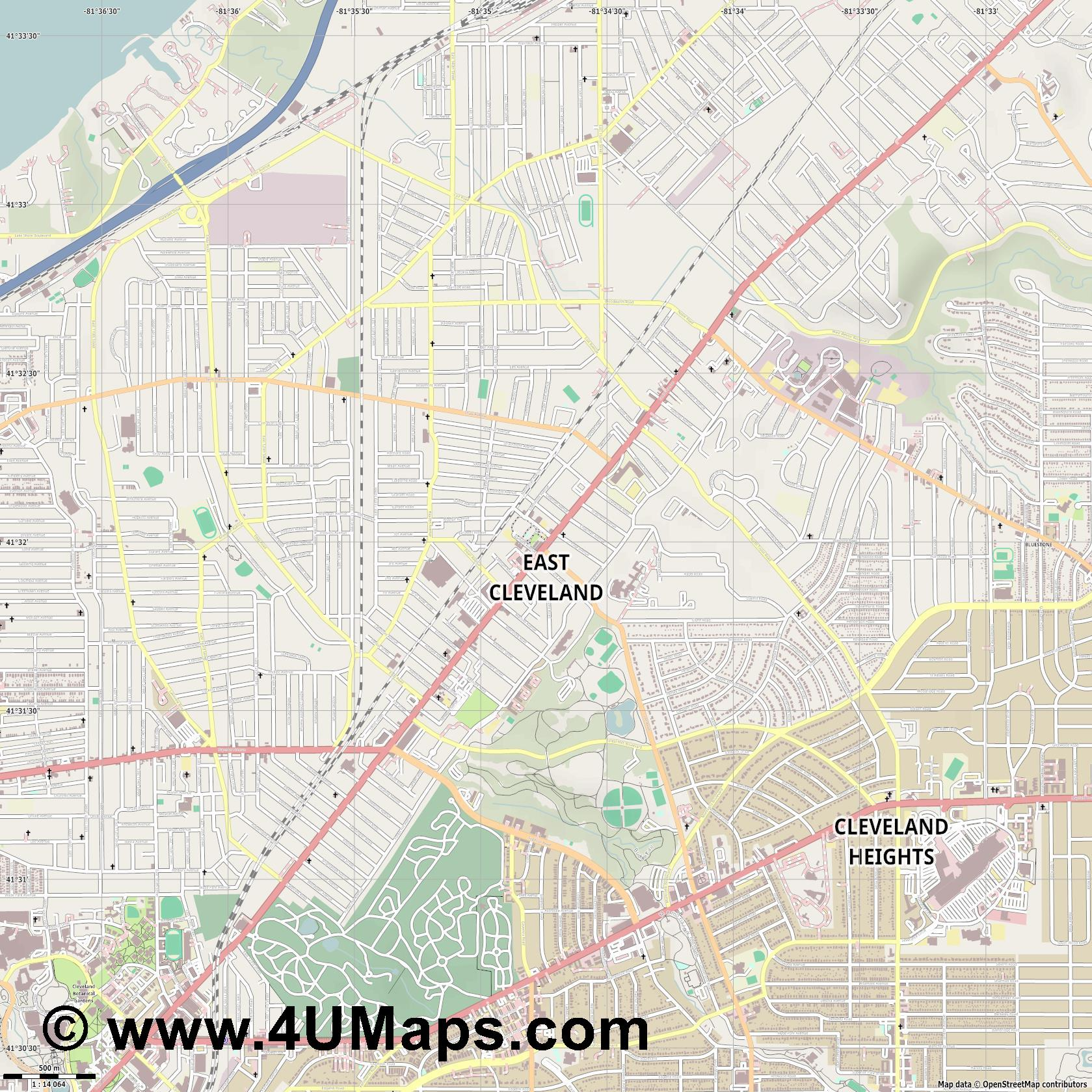 East Cleveland  jpg ultra high detail preview vector city map