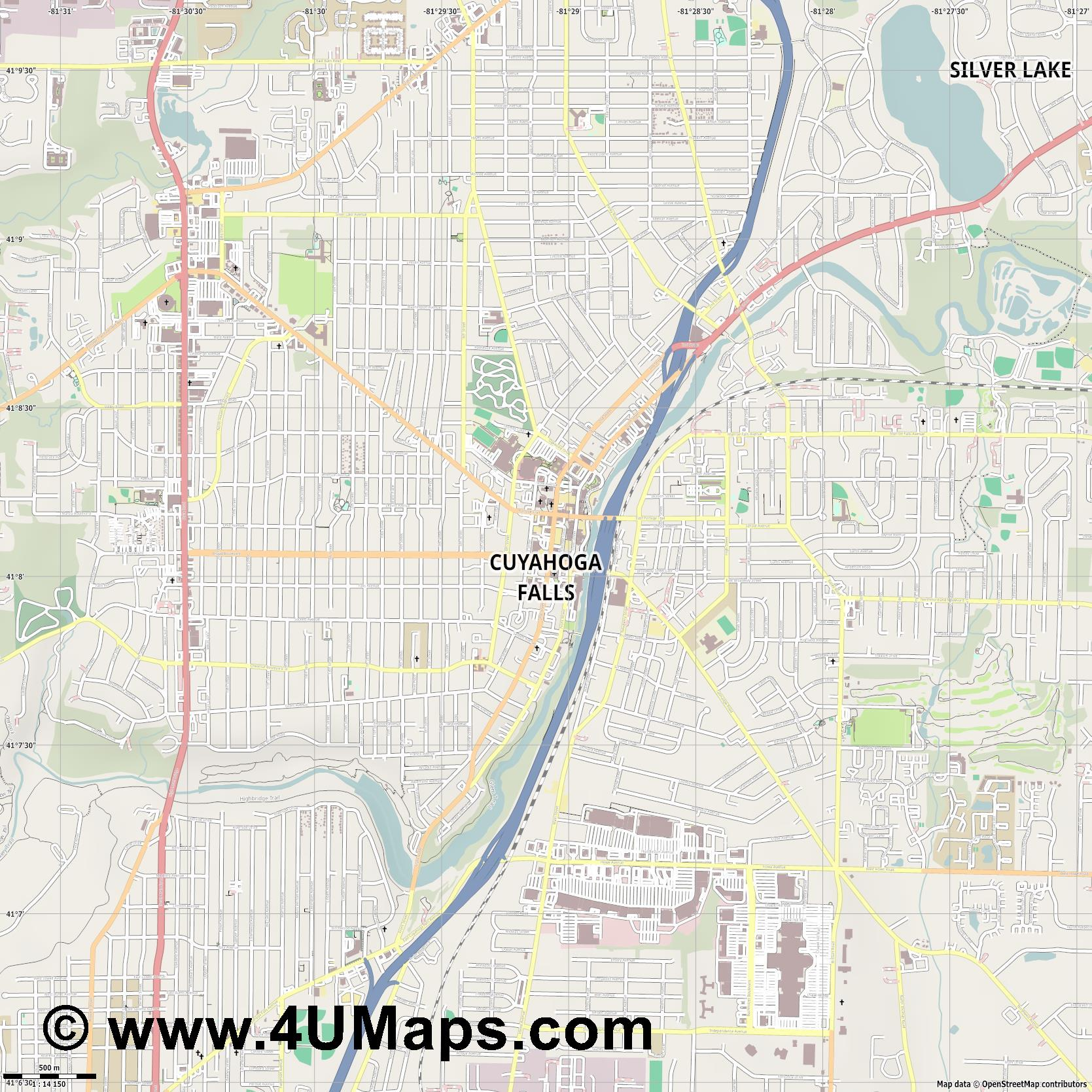 Cuyahoga Falls  jpg ultra high detail preview vector city map