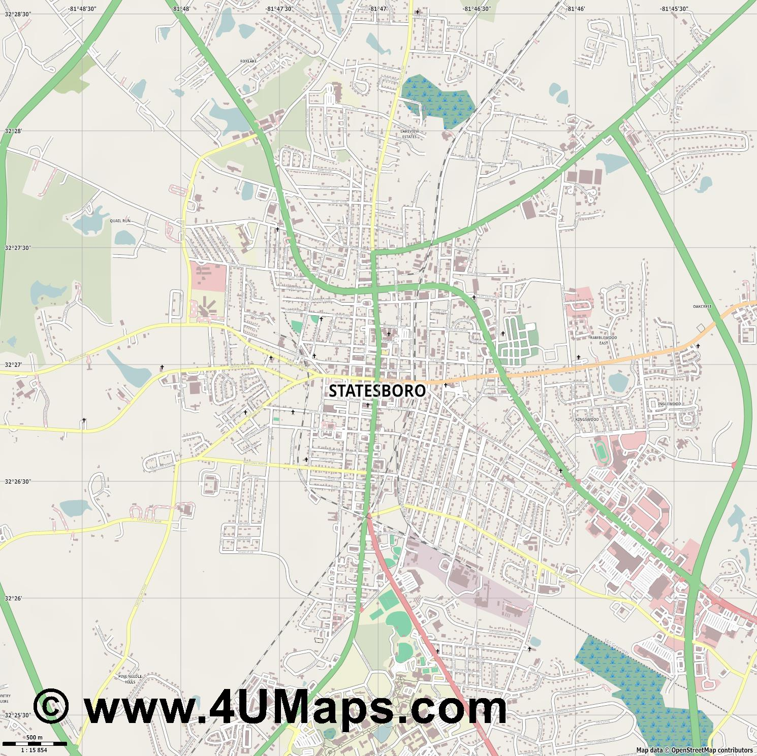 Statesboro  jpg ultra high detail preview vector city map