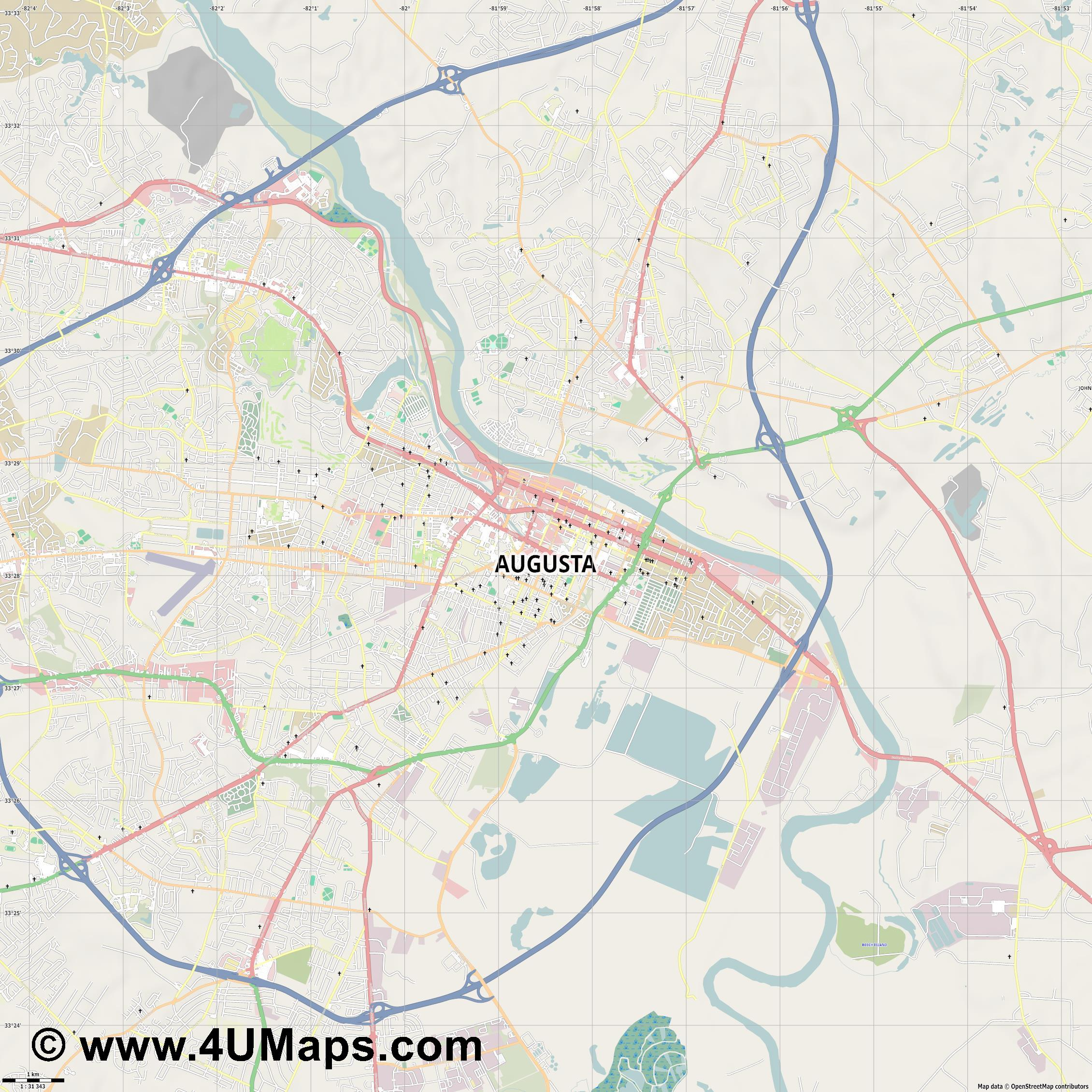 Augusta  jpg high detail, large area preview vector city map
