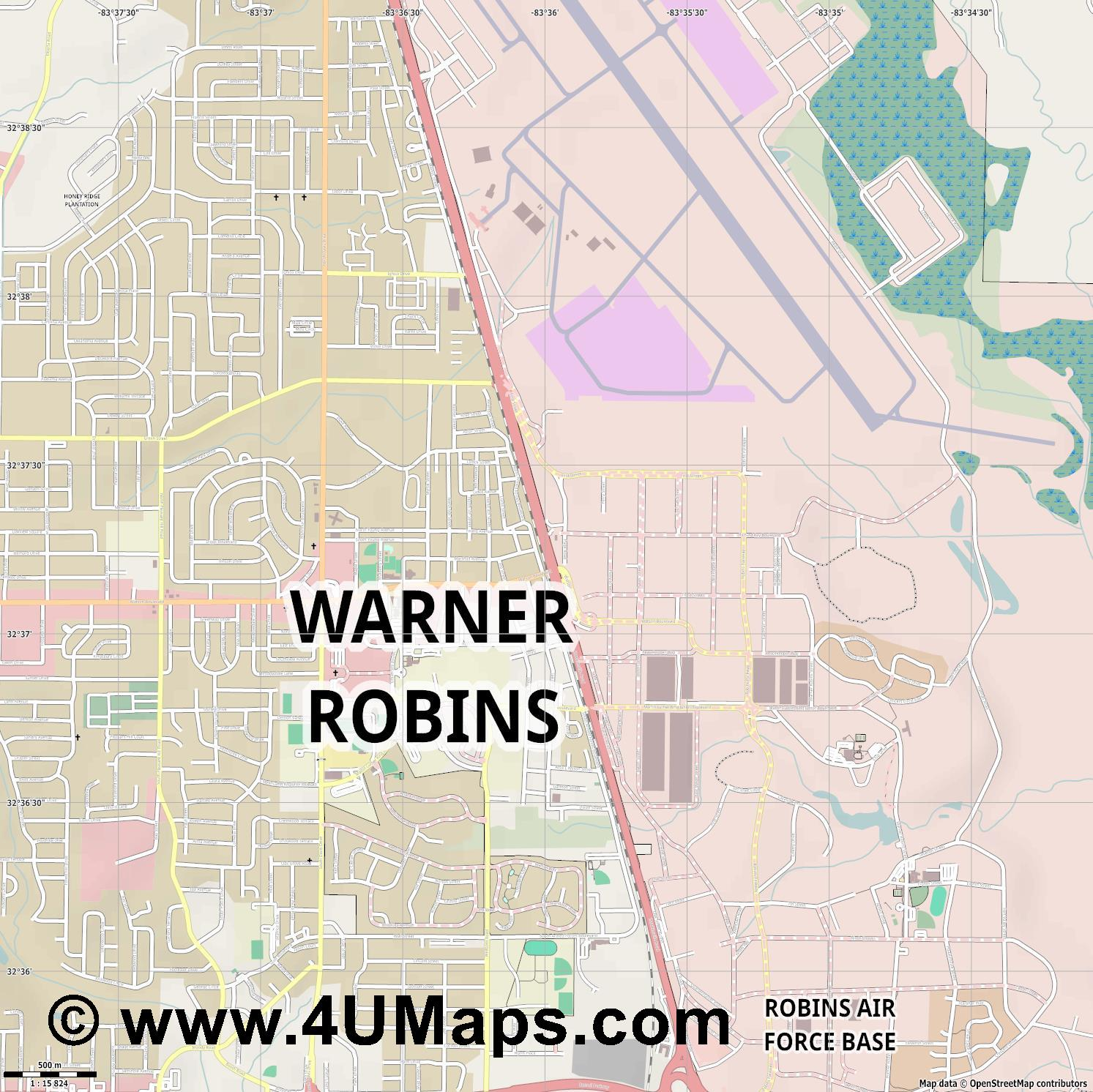 Warner Robins  jpg ultra high detail preview vector city map