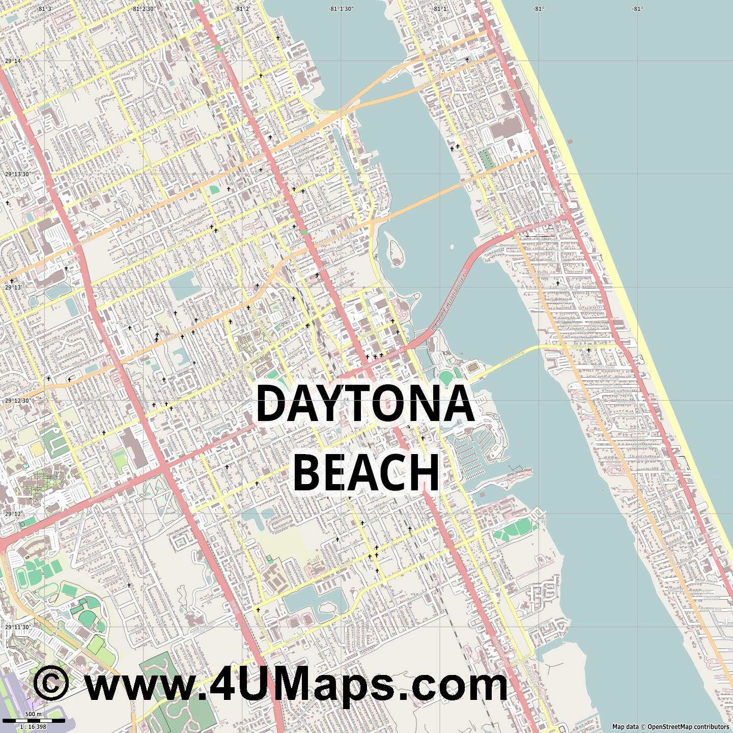 Daytona Beach  jpg ultra high detail preview vector city map