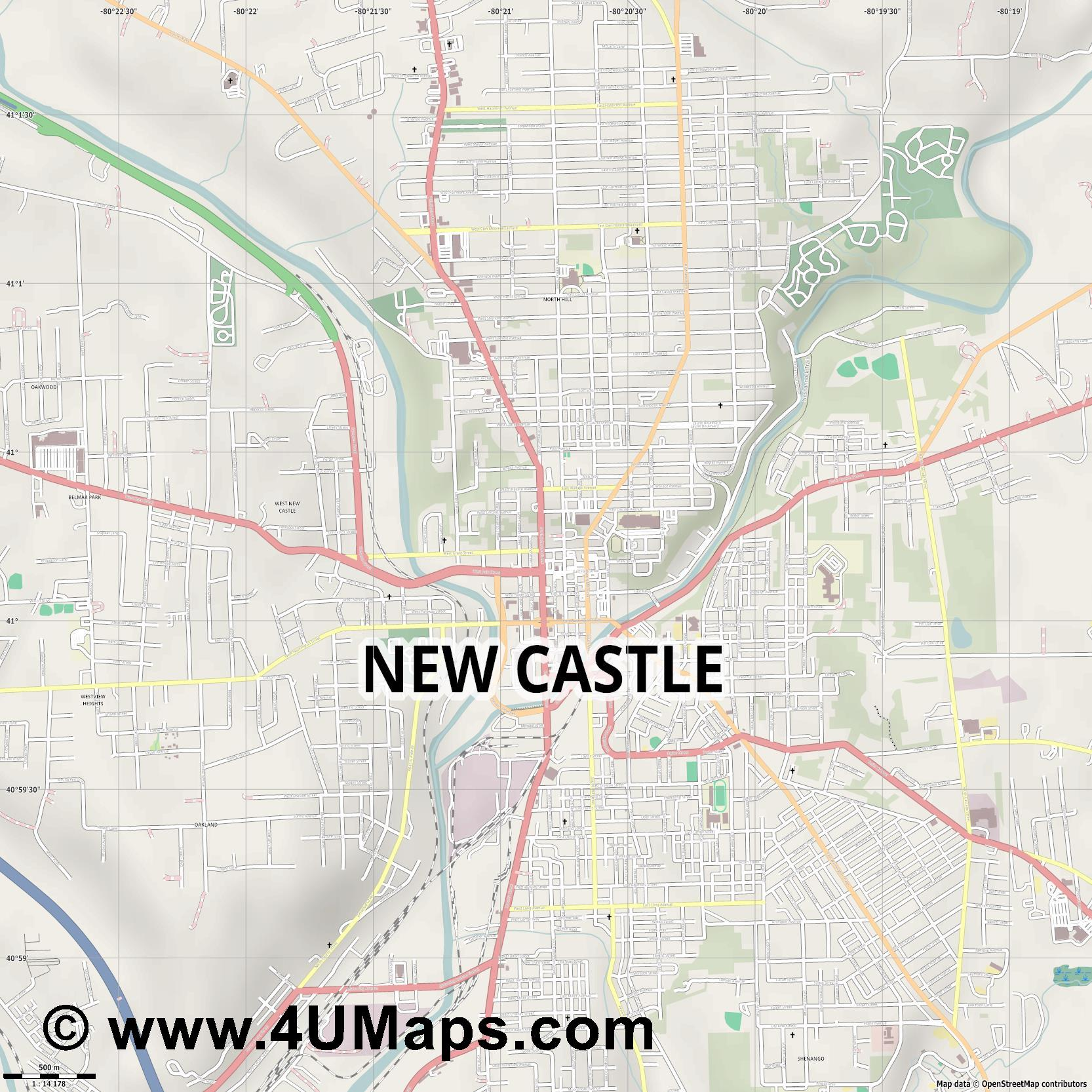 New Castle  jpg ultra high detail preview vector city map