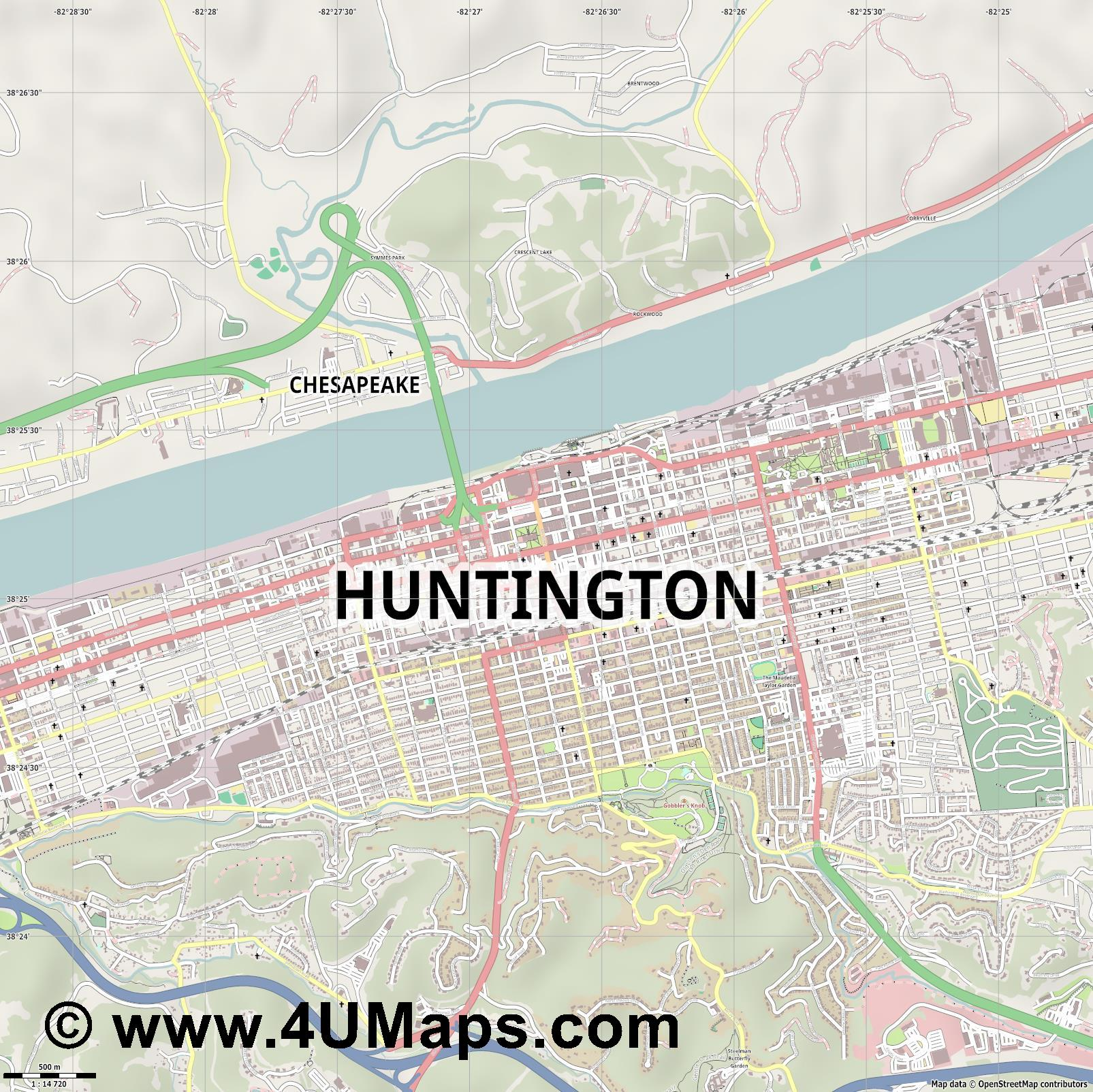 Huntington  jpg ultra high detail preview vector city map