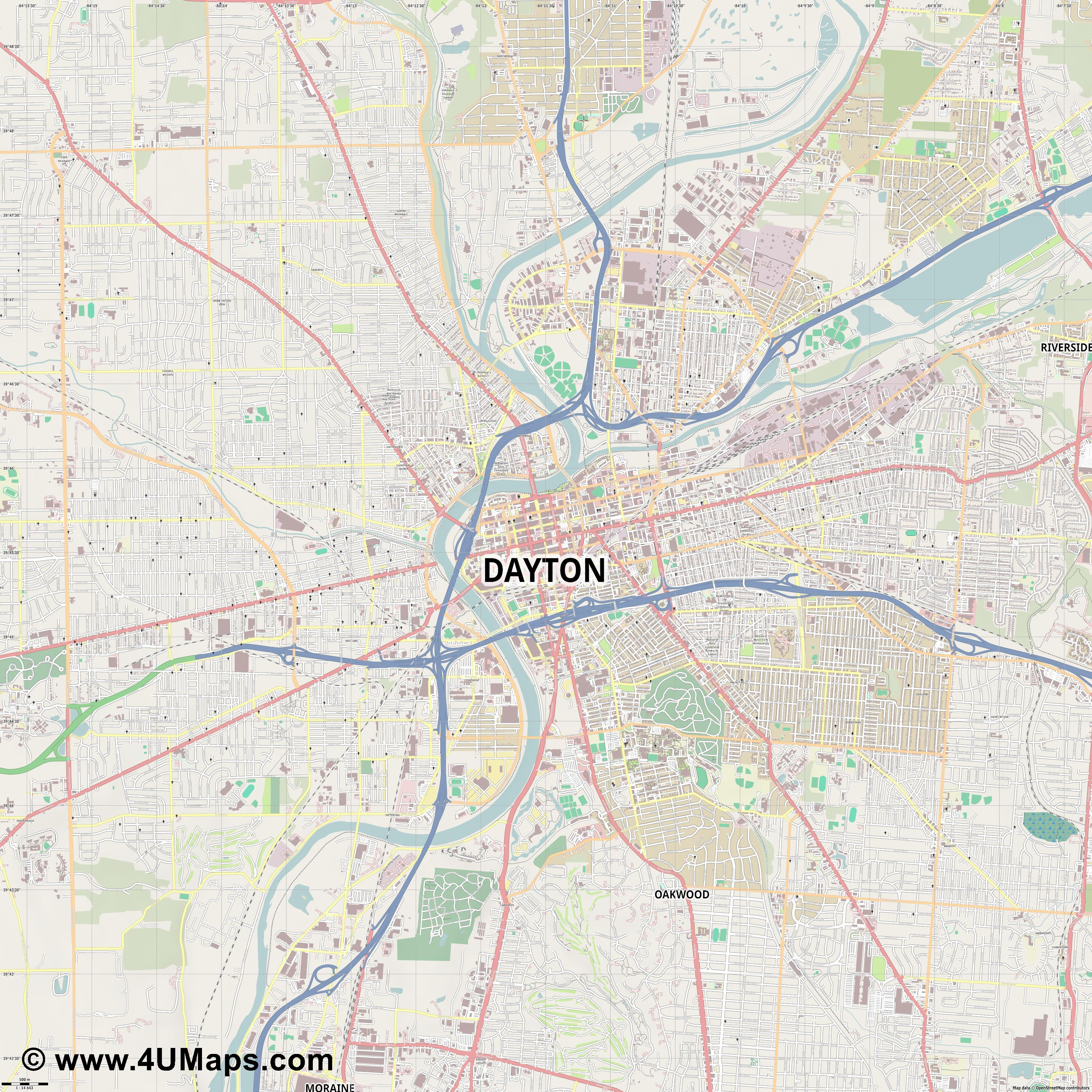 Dayton  jpg ultra high detail preview vector city map