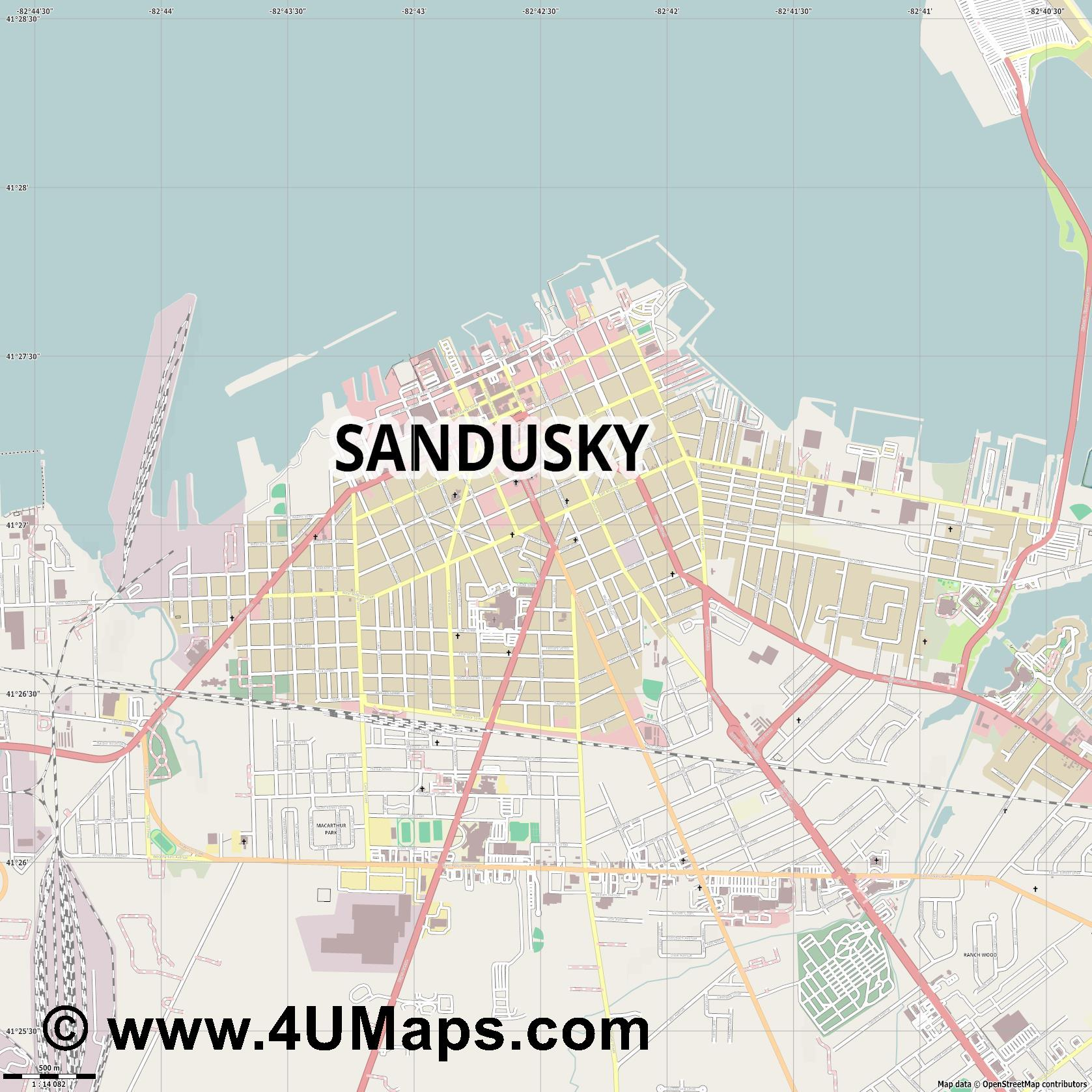 Sandusky  jpg ultra high detail preview vector city map