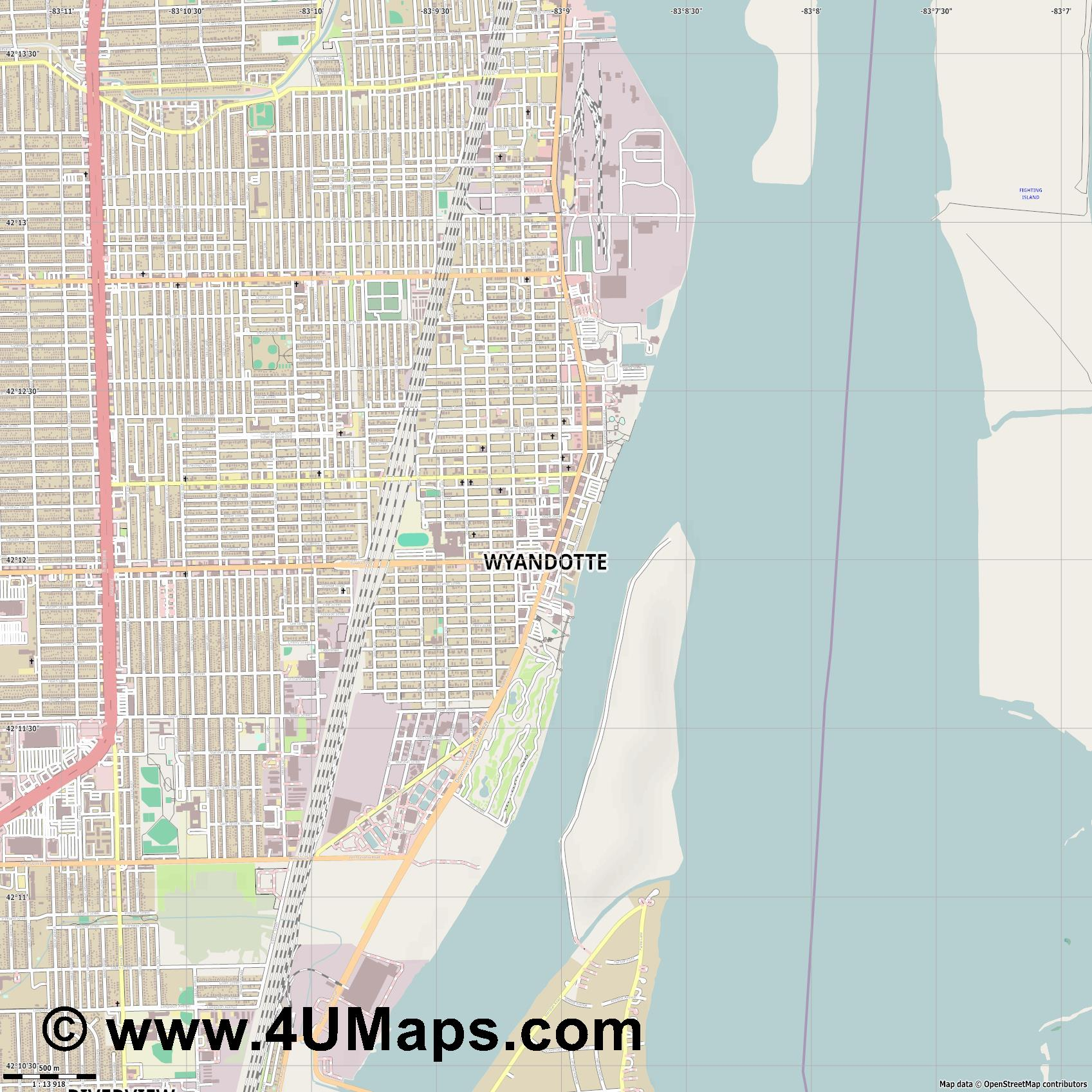 Wyandotte  jpg ultra high detail preview vector city map