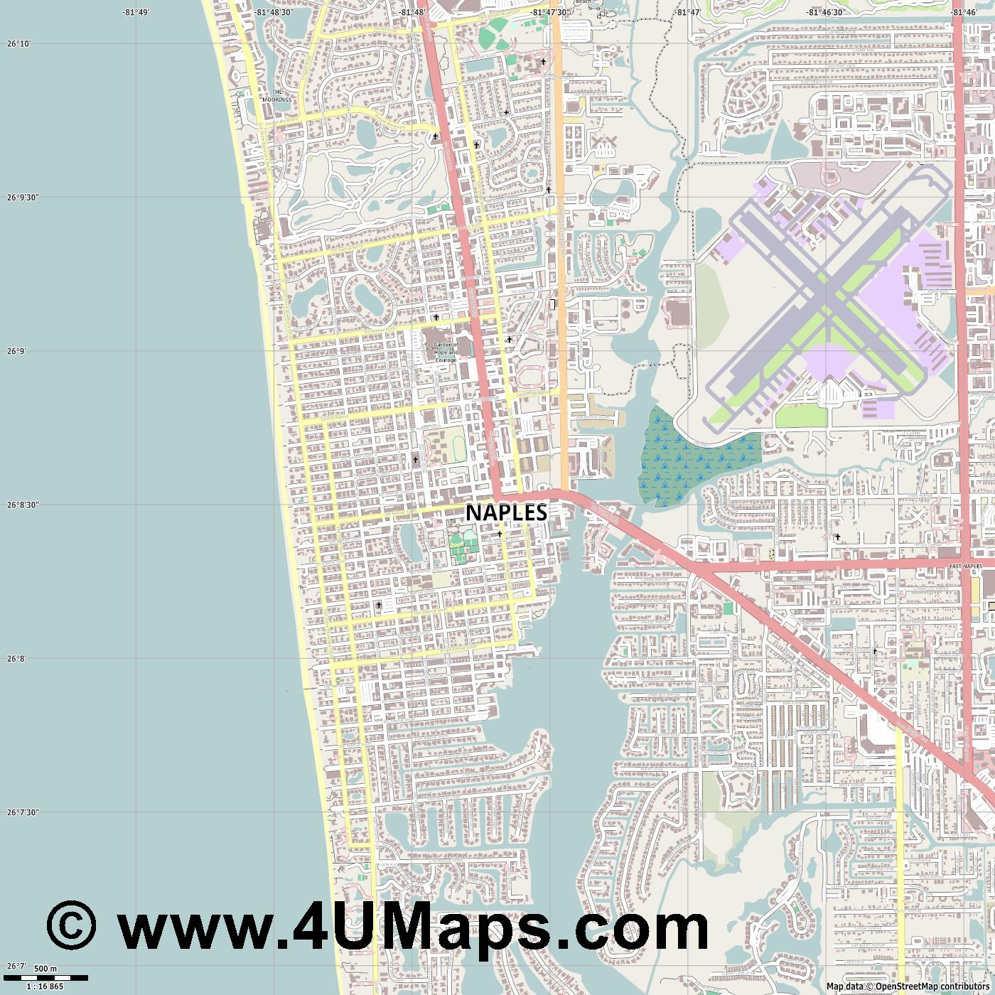 Naples  jpg ultra high detail preview vector city map