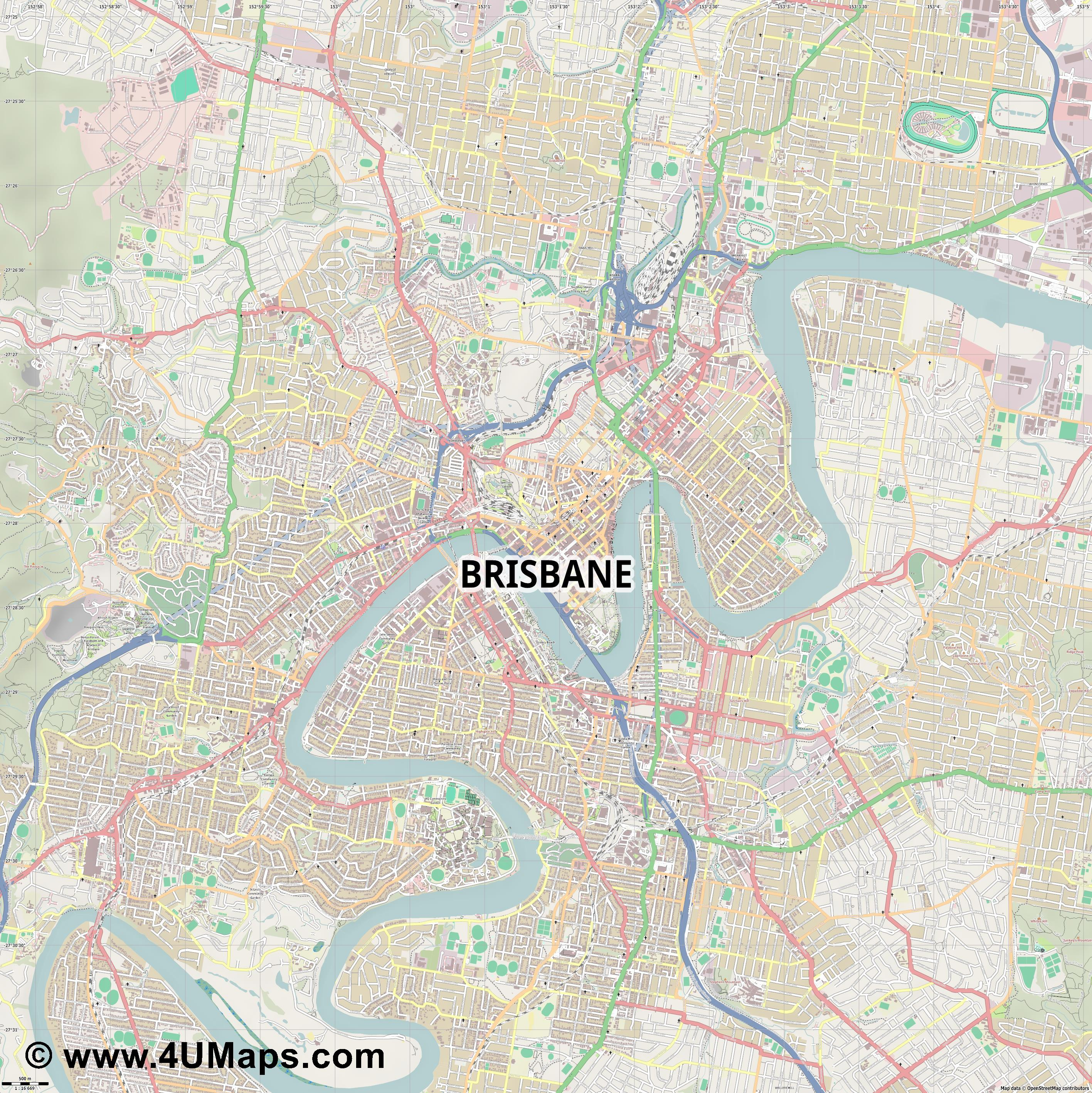 Brisbane  jpg ultra high detail preview vector city map