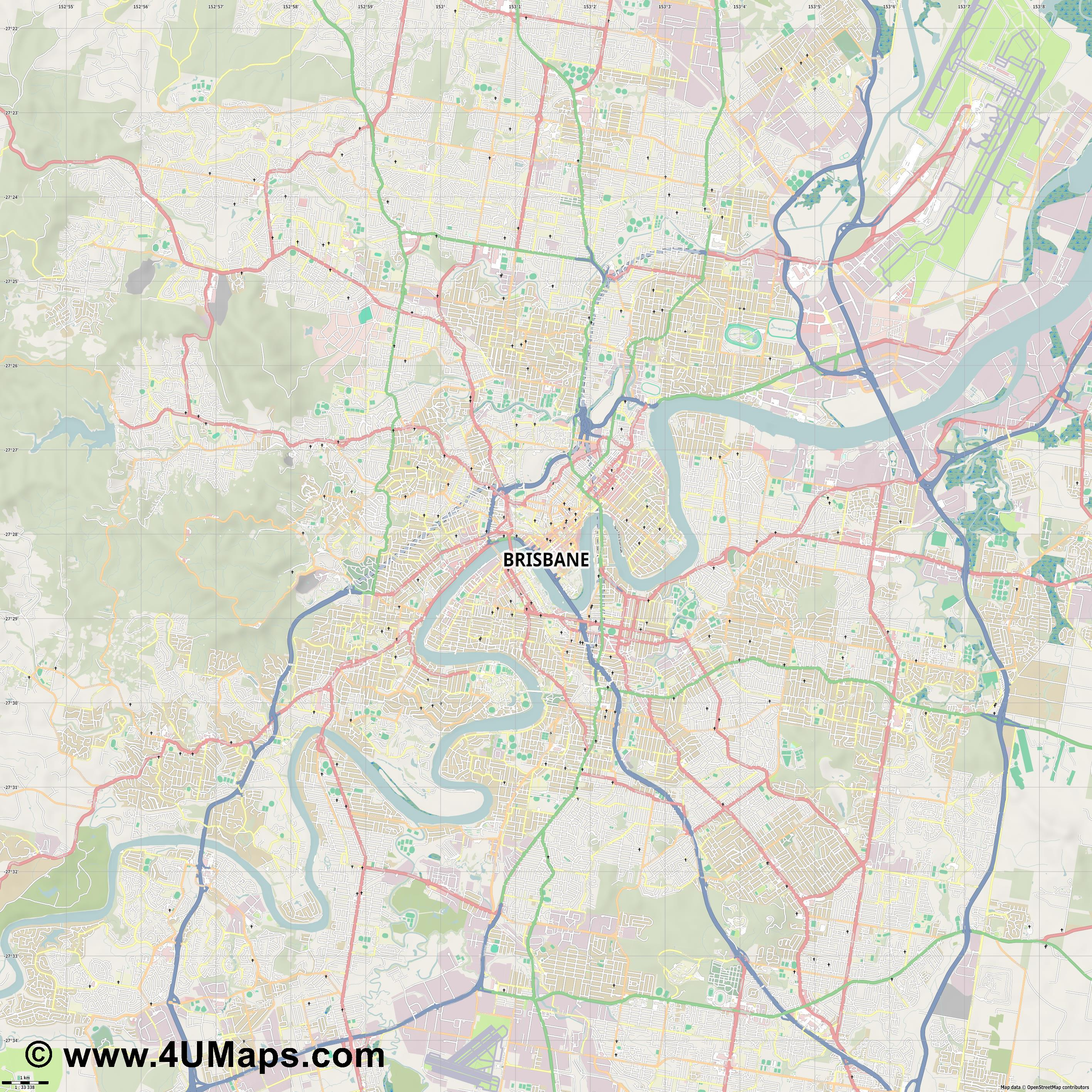 Brisbane  jpg high detail, large area preview vector city map