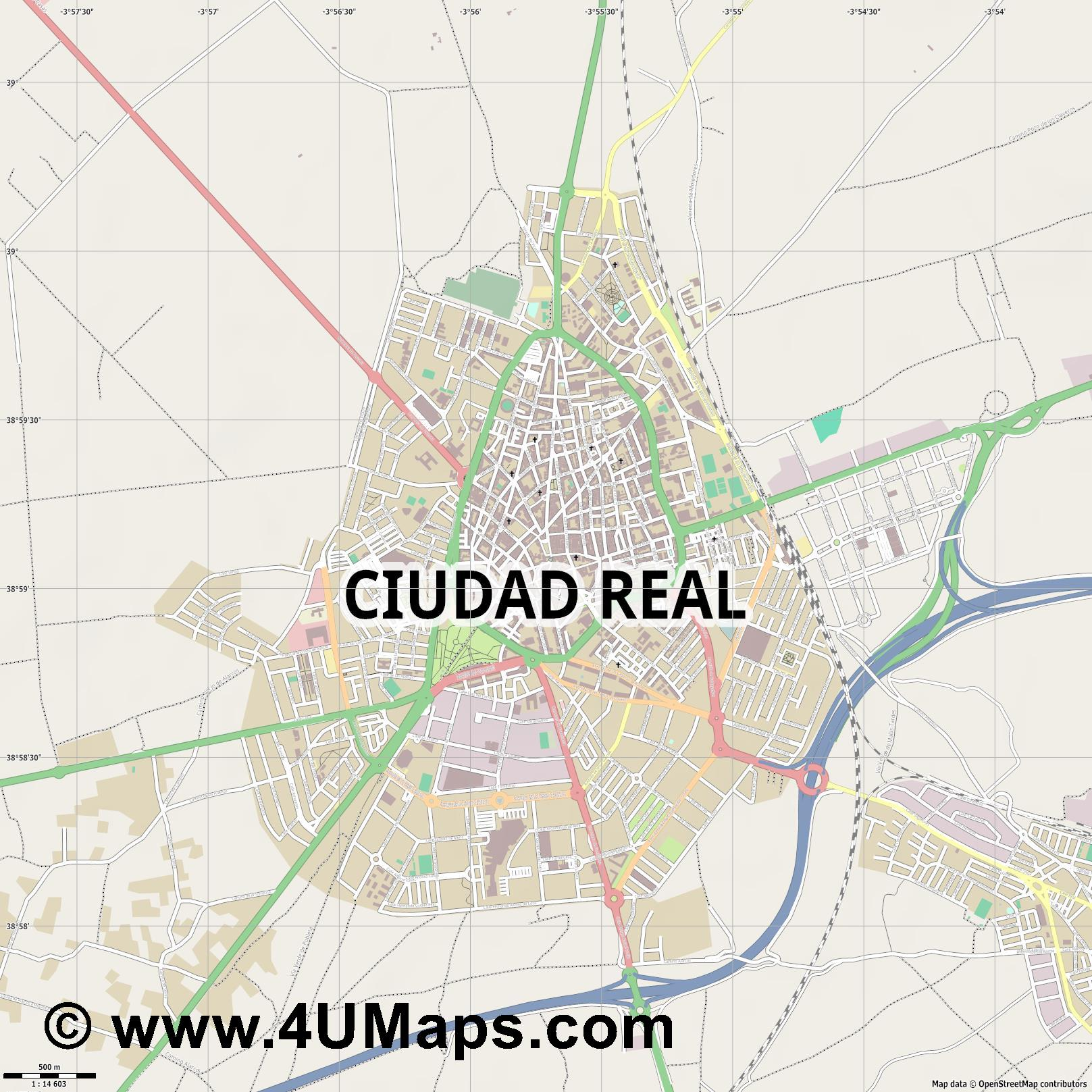 Ciudad Real  jpg ultra high detail preview vector city map