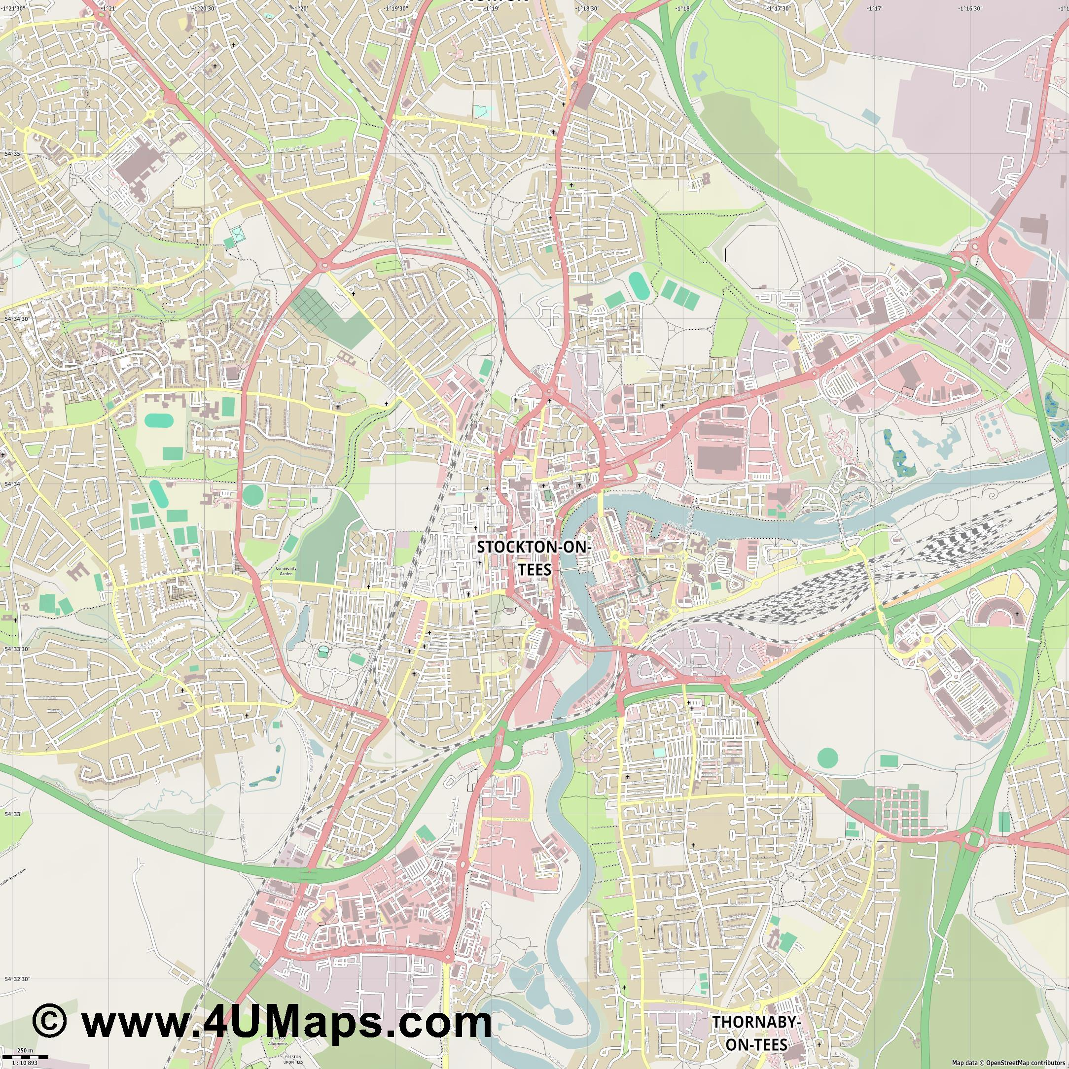 Stockton on Tees  jpg ultra high detail preview vector city map