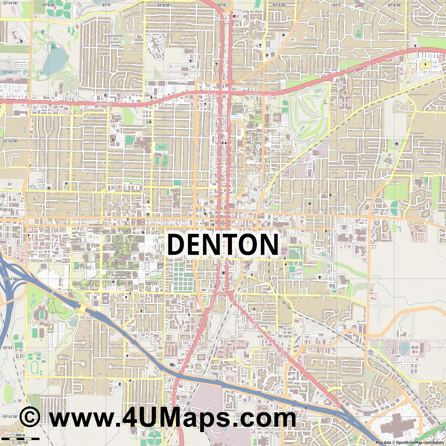 Denton  jpg ultra high detail preview vector city map