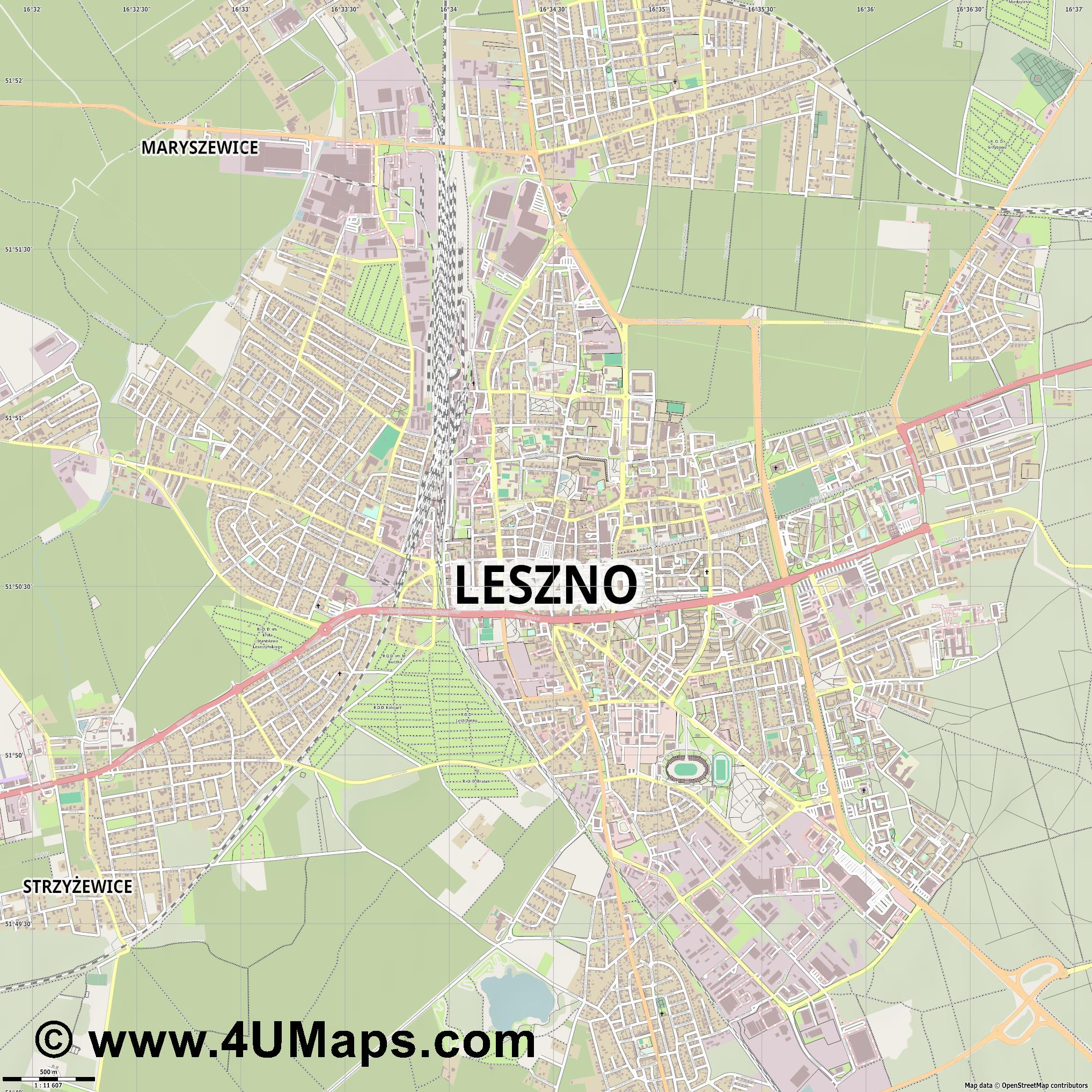 Leszno Lissa  jpg ultra high detail preview vector city map