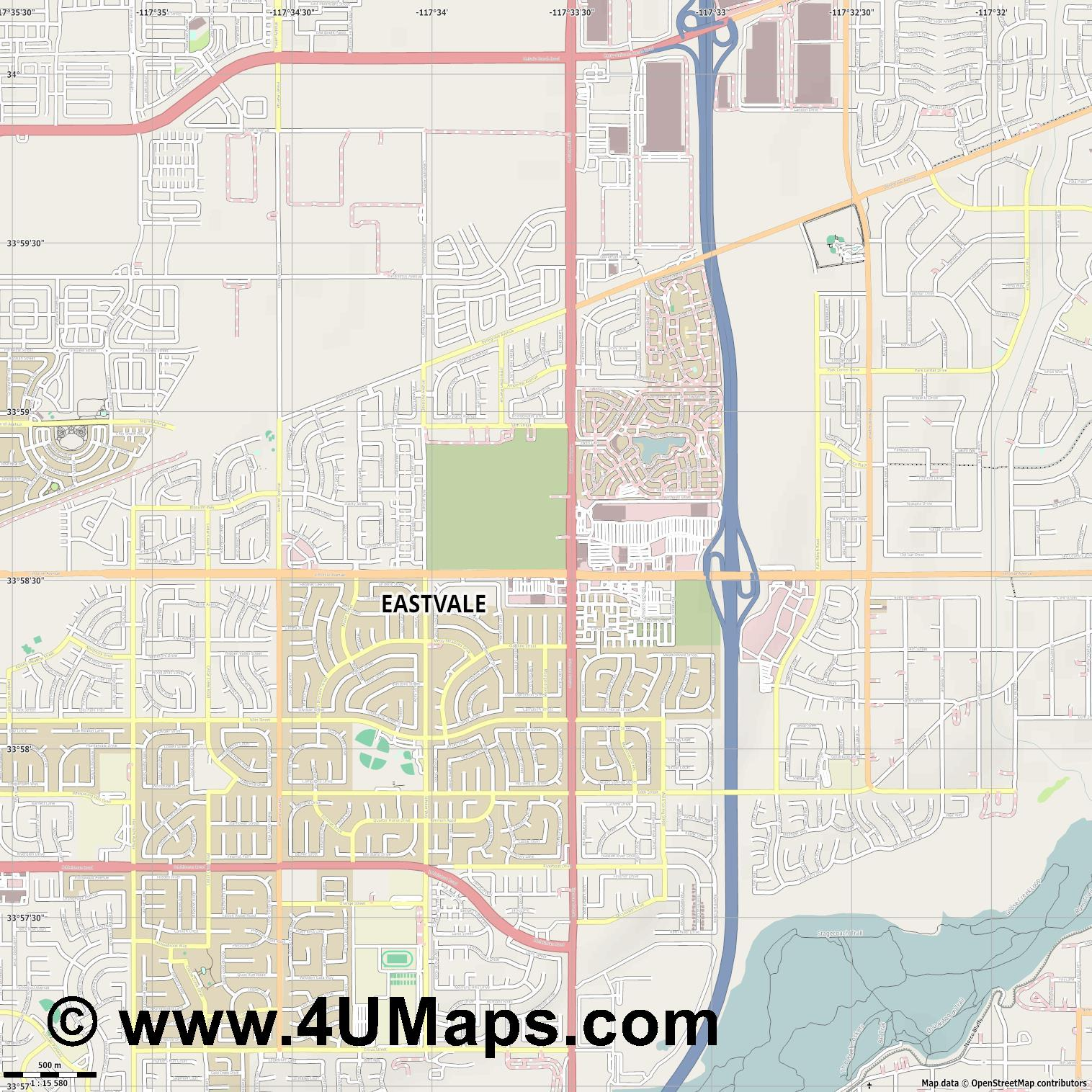 Eastvale  jpg ultra high detail preview vector city map